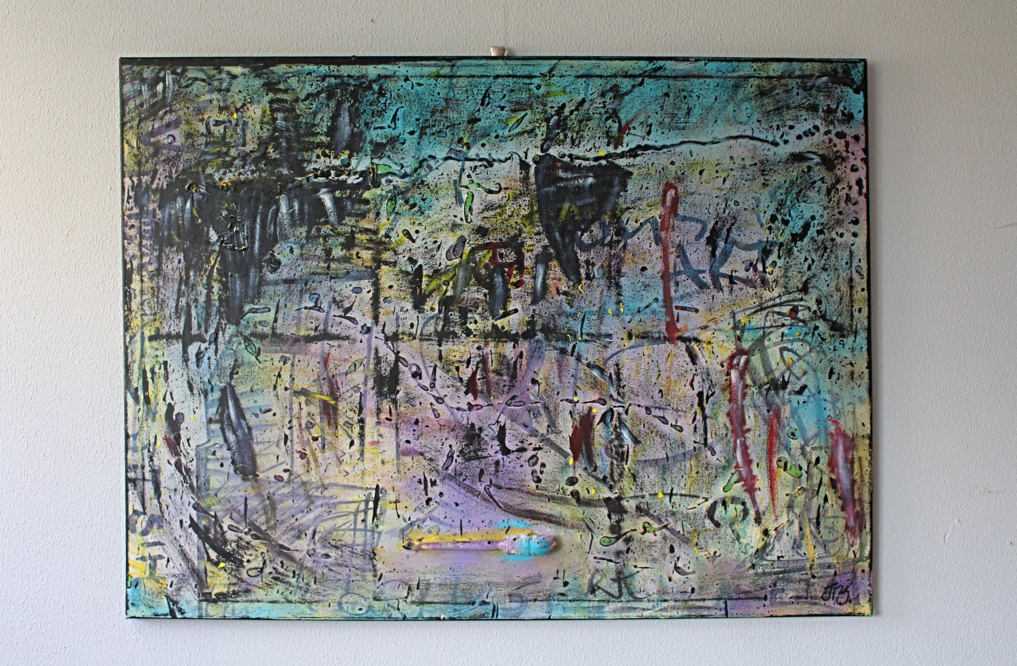 "21. ""This is Art."" (120 x 90cm) Acrylic & spray paint + paintbrush on canvas. 2009"