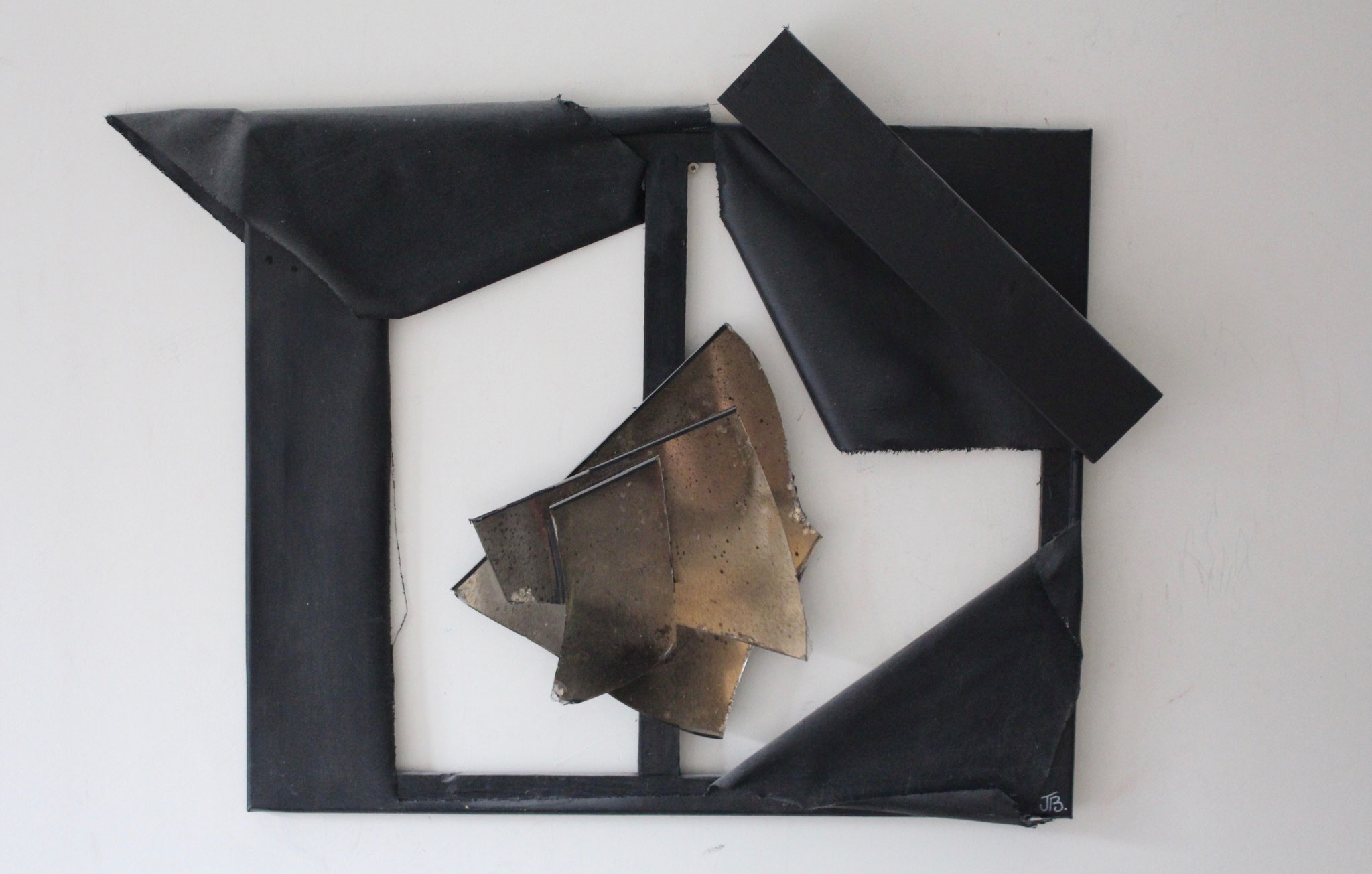 """10. """"Untitled.""""  (60x50cm)    Acrylic paint, piece of wood&pieces of mirror on canvas.  2012."""