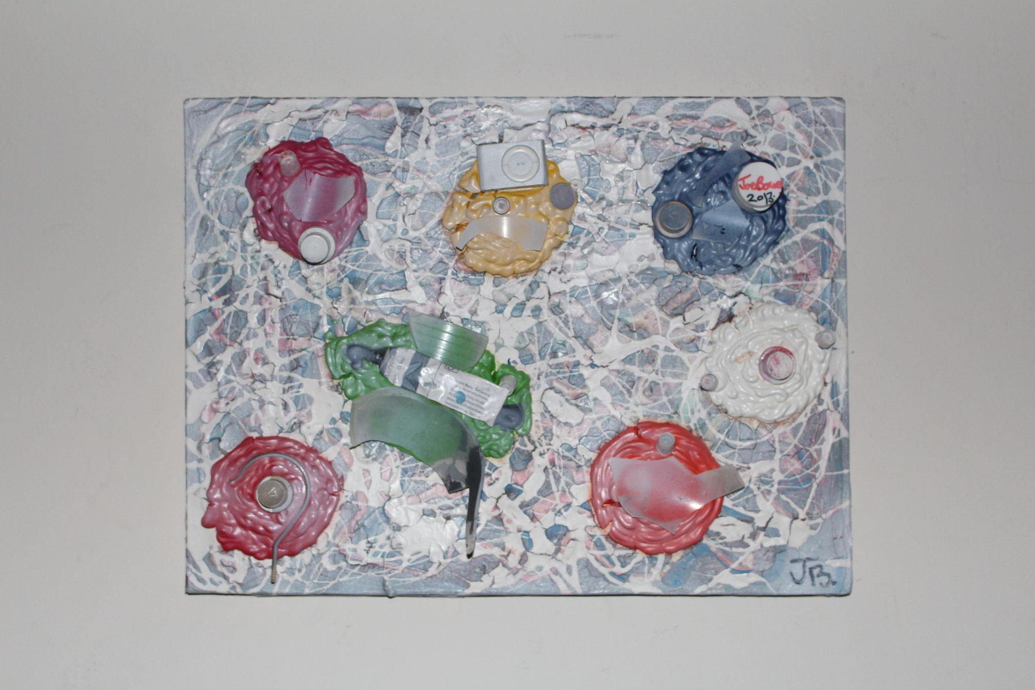 """31. """" Untitled. """" (40 x 30cm) Acrylic, gouache & spray paint + objects on canvas. 2012"""