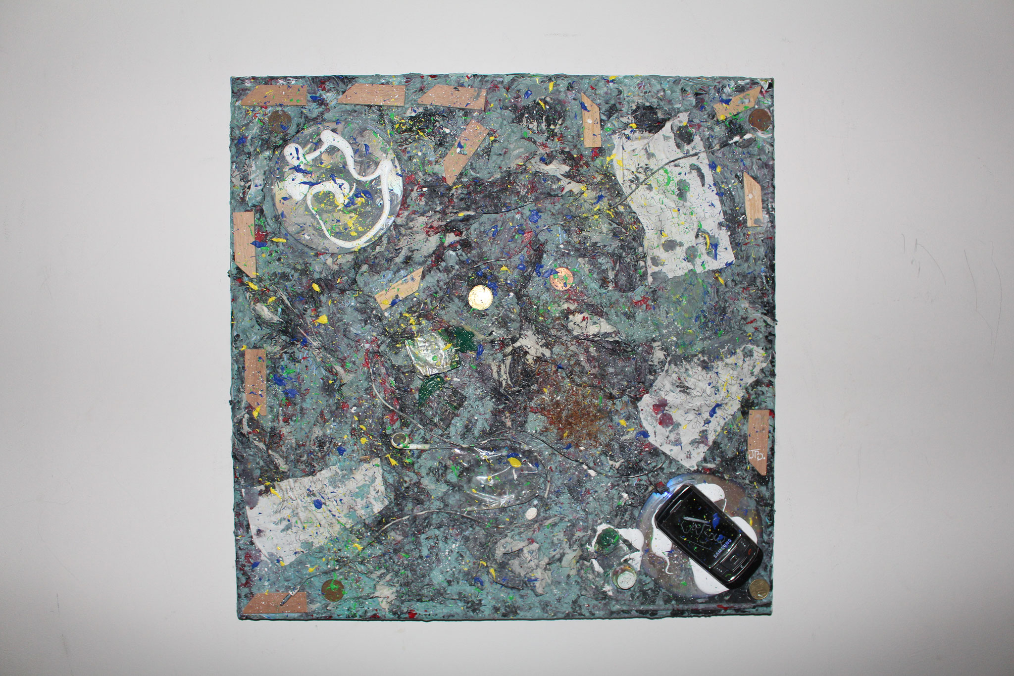 "40. "" Materialistic frustration. "" (50 x 50cm) Acrylic paint + objects on canvas. 2010   (€500)"