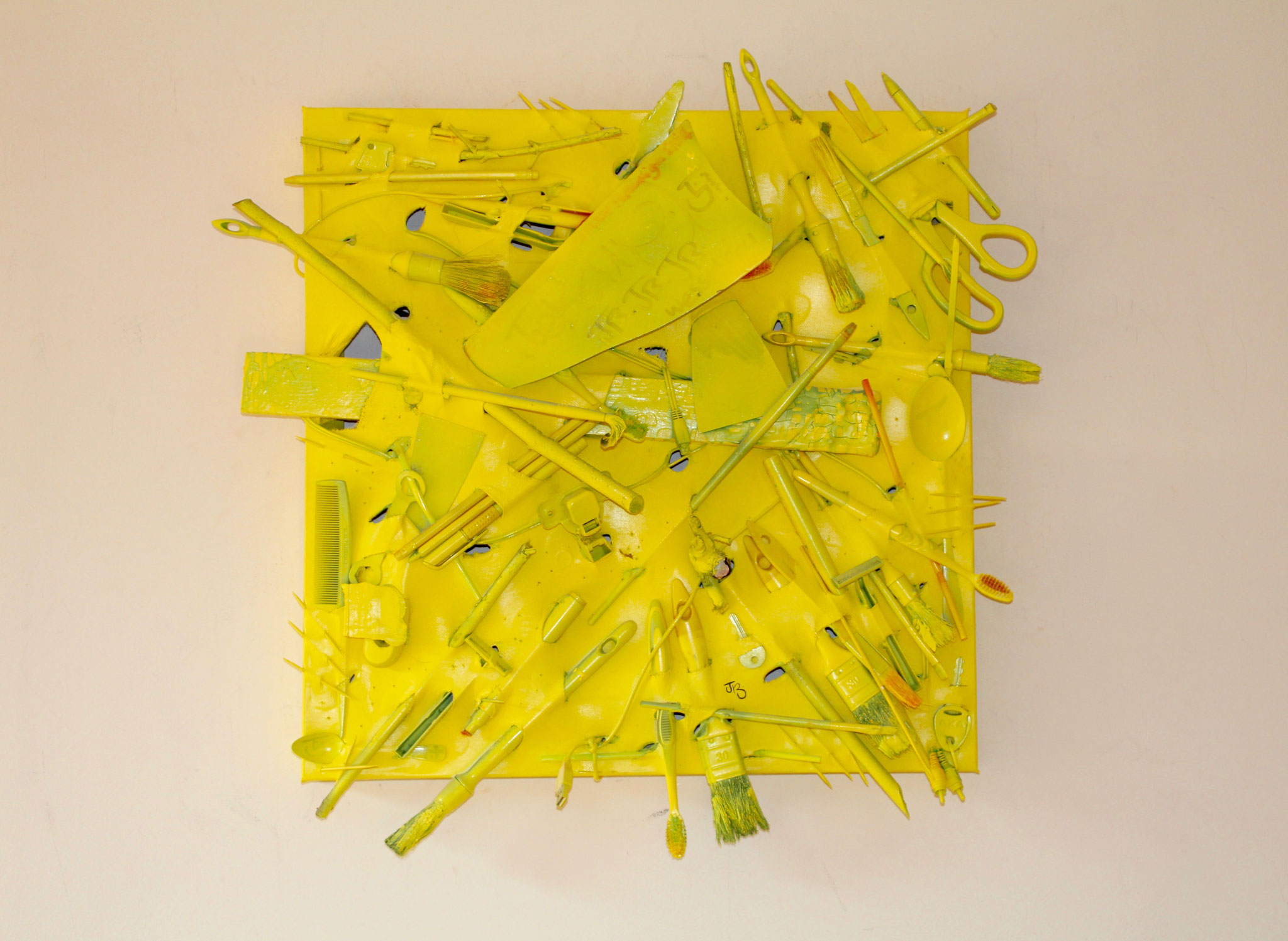 42. ''Untitled.'' (50x50cm)  Acrylic&spraypaint.    objects sliced through the canvas     (€800)