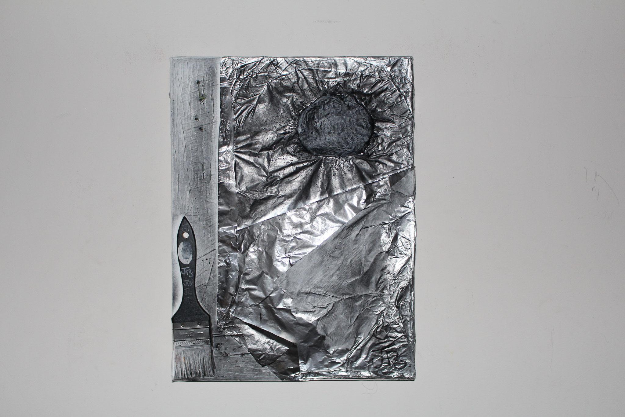"""4. """" Black sun. """" (40 x 30cm) Acrylic & spray paint + aluminium foil on canvas. 2014"""