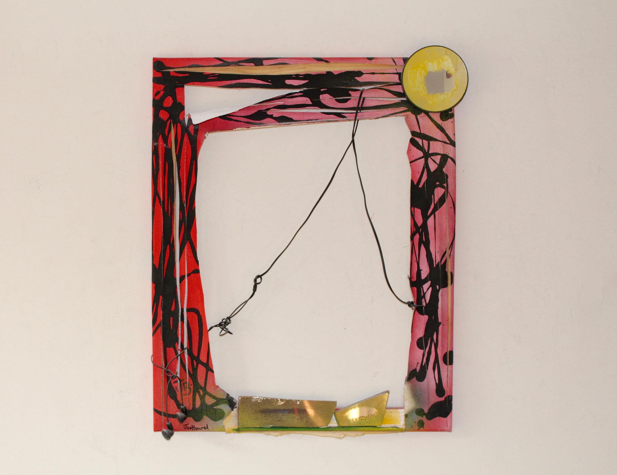 "9. ""Untitled."" (50x40cm)  Acrylic&spraypaint, earphones+pieces of mirror on canvas."