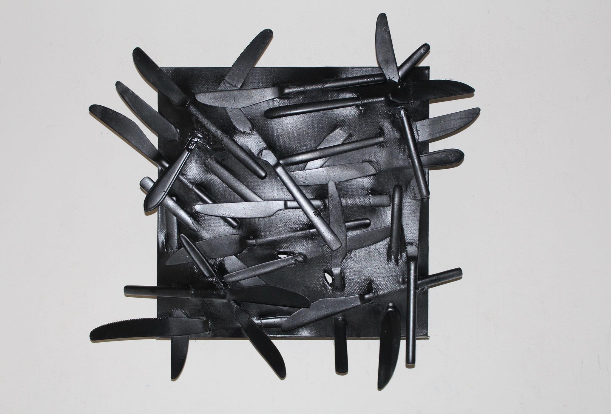 22. ''Black knives.'' (30x30cm) spraypaint