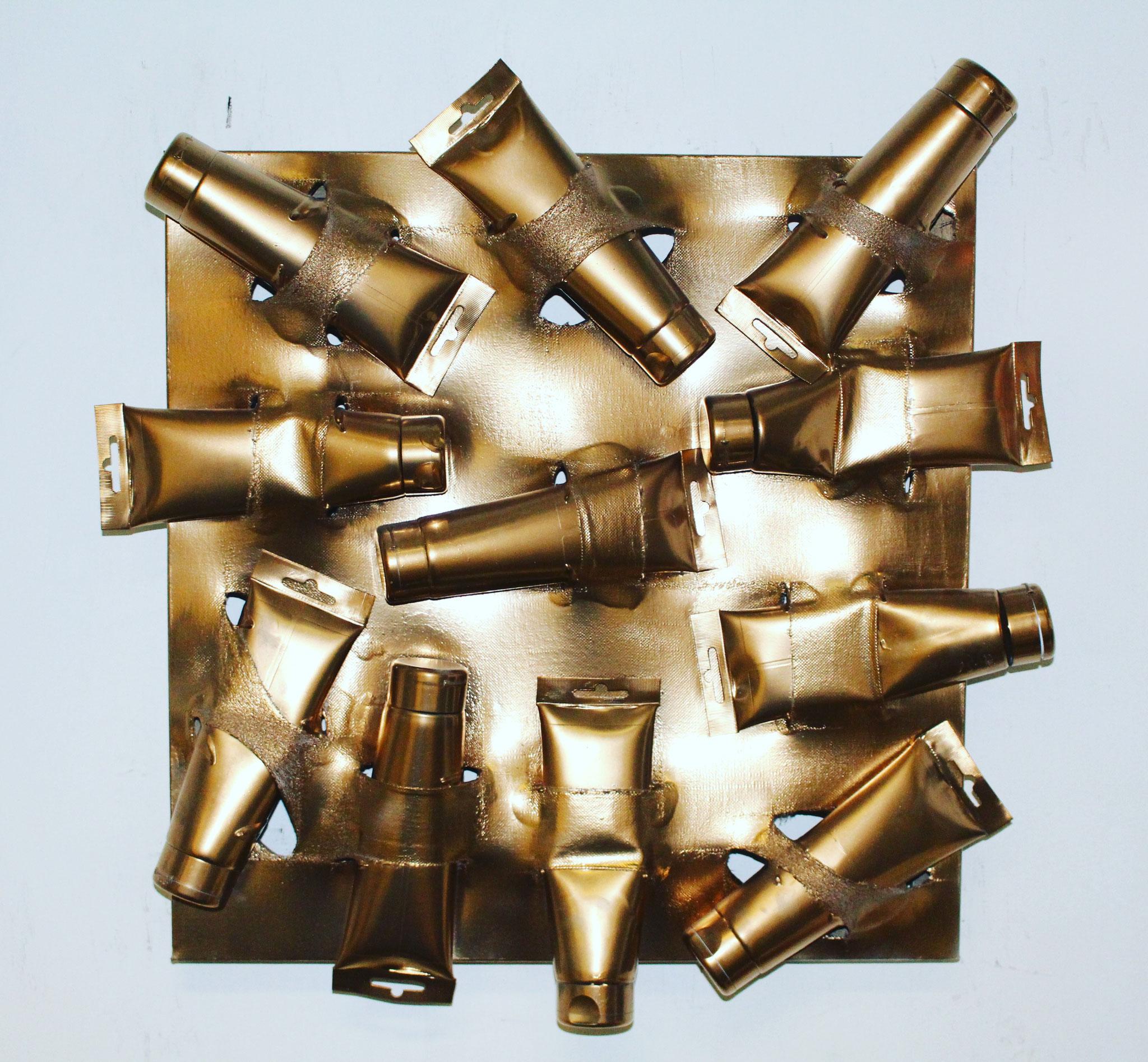 65. ''Golden Painttubes.'' (50x50cm) acrylic&spraypaint