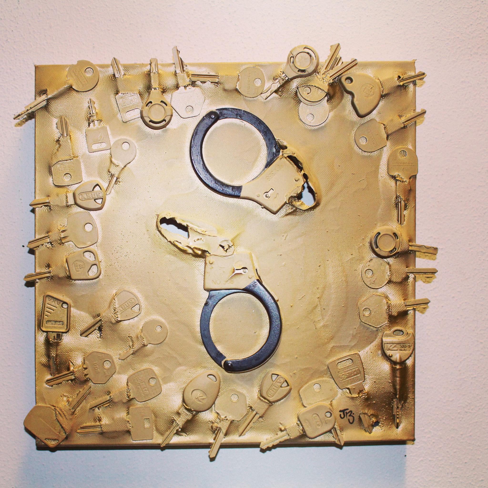57. ''Lock me up & let me be free.'' (30x30cm) acrylic&spraypaint.