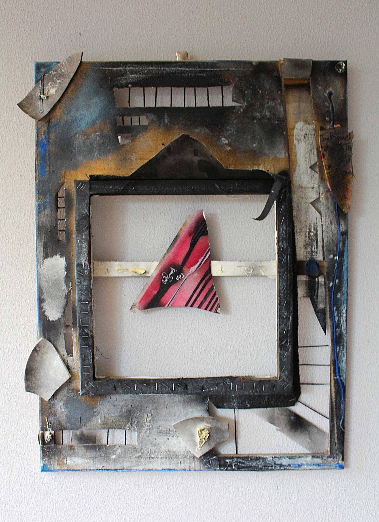 "14. ""Untitled."" (80 x 60cm) Acrylic, oil & spray paint + objects. 2013        (€1250)"
