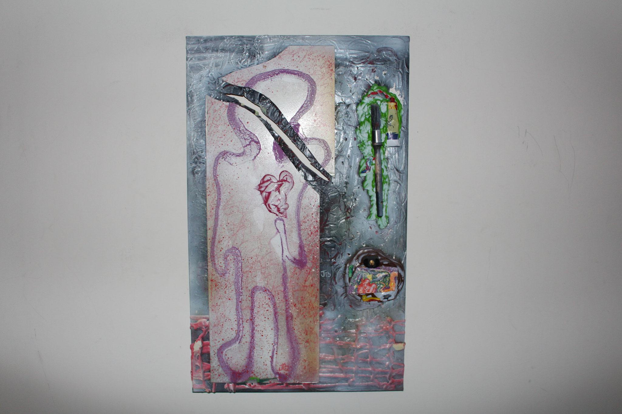 "2. "" Disconnected. "" (58 x 35cm) Acrylic & spray paint + mirror. 2013"