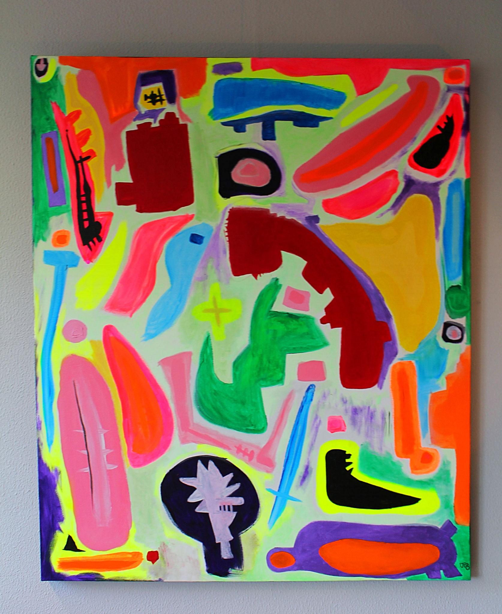 "1. ""Walking through Society."" (110 x 100cm) Acrylic paint on canvas. 2016"