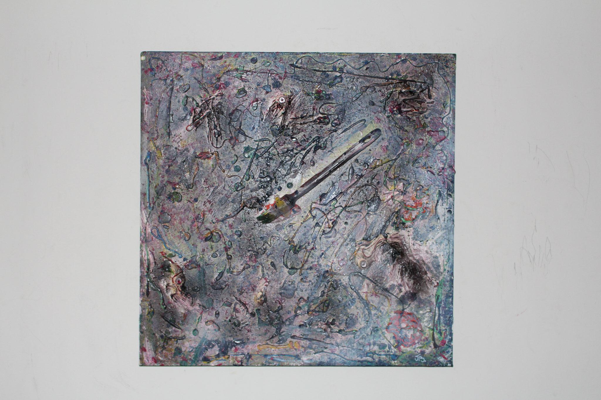"10. "" Untitled. "" (50 x 50cm) Acrylic, oil & spray paint + paintbrush. 2013"