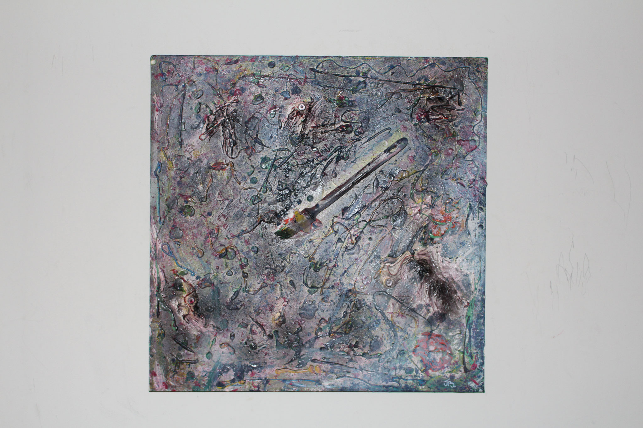 "30."" Untitled. "" (50 x 50cm) Acrylic, oil & spray paint + paintbrush. 2013   (€470)"
