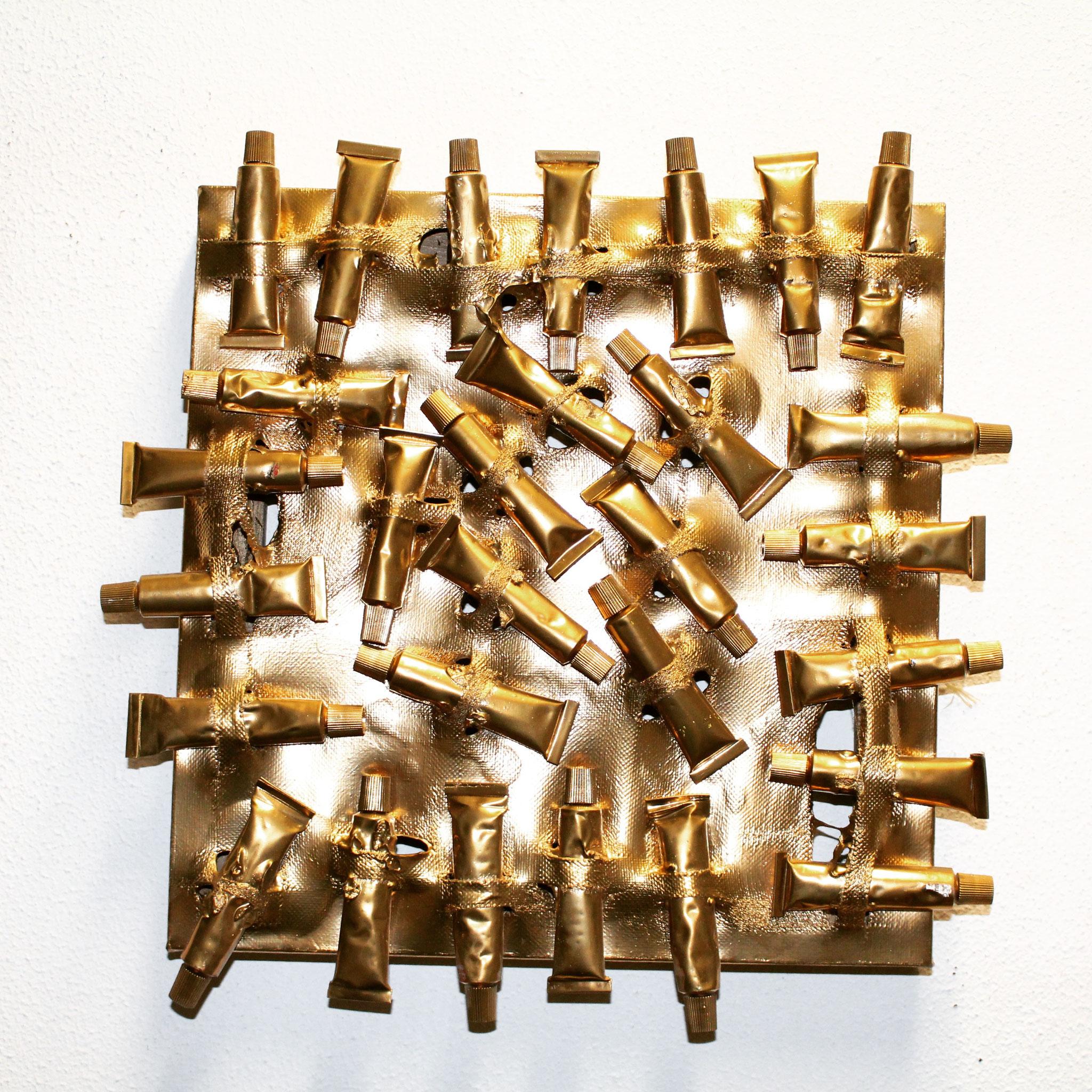 54. ''Golden painttubes.'' (30x30cm) Acrylic&spraypaint.   (€370)