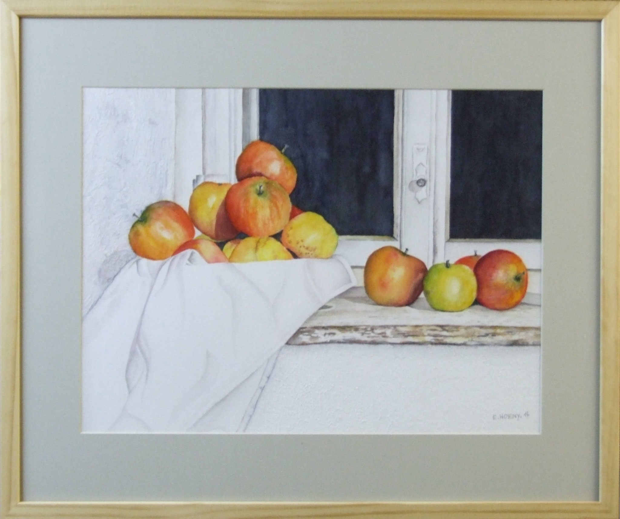 Äpfel im Fenster