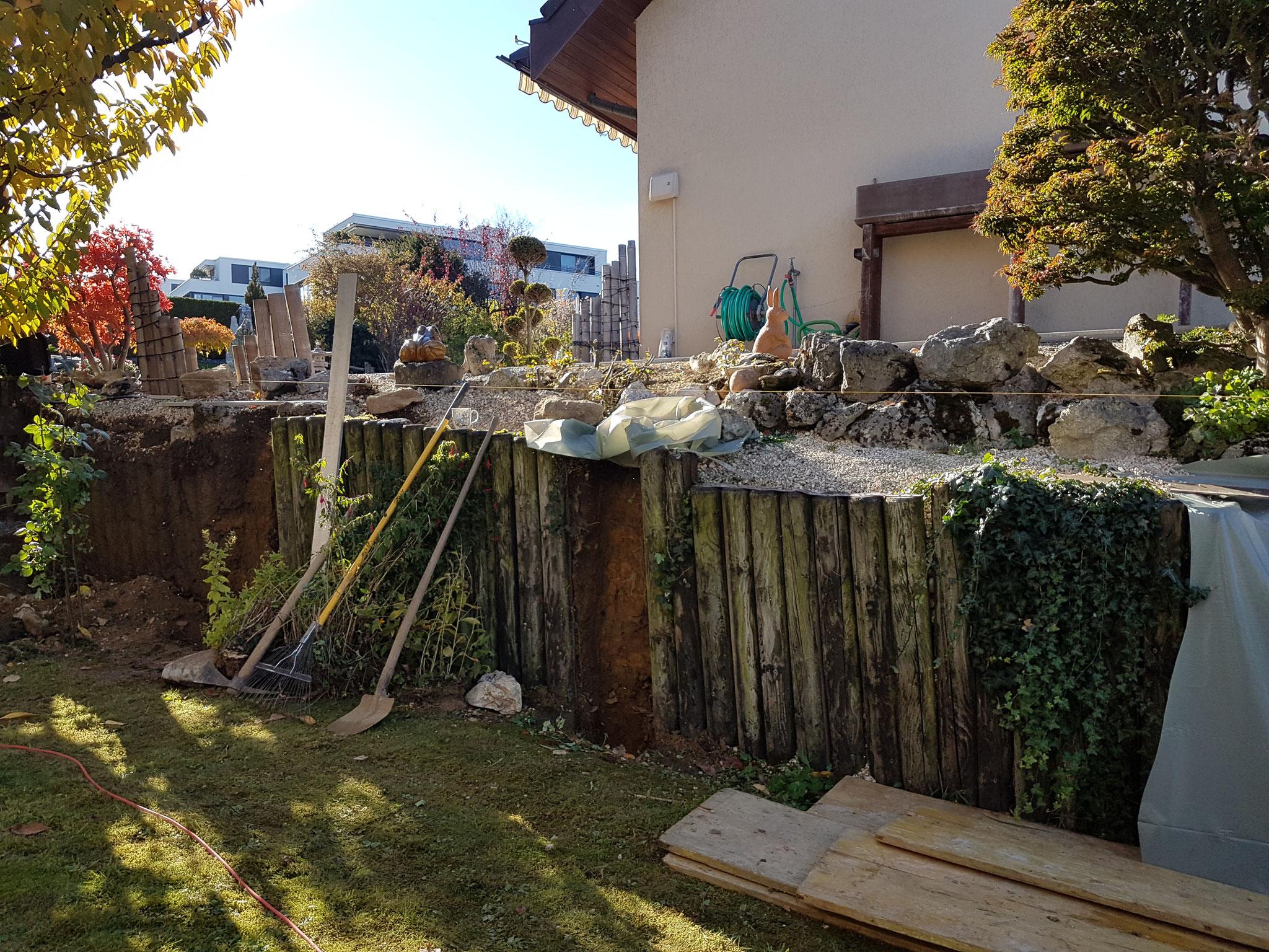 Projekt Stützmauer zu Beginn
