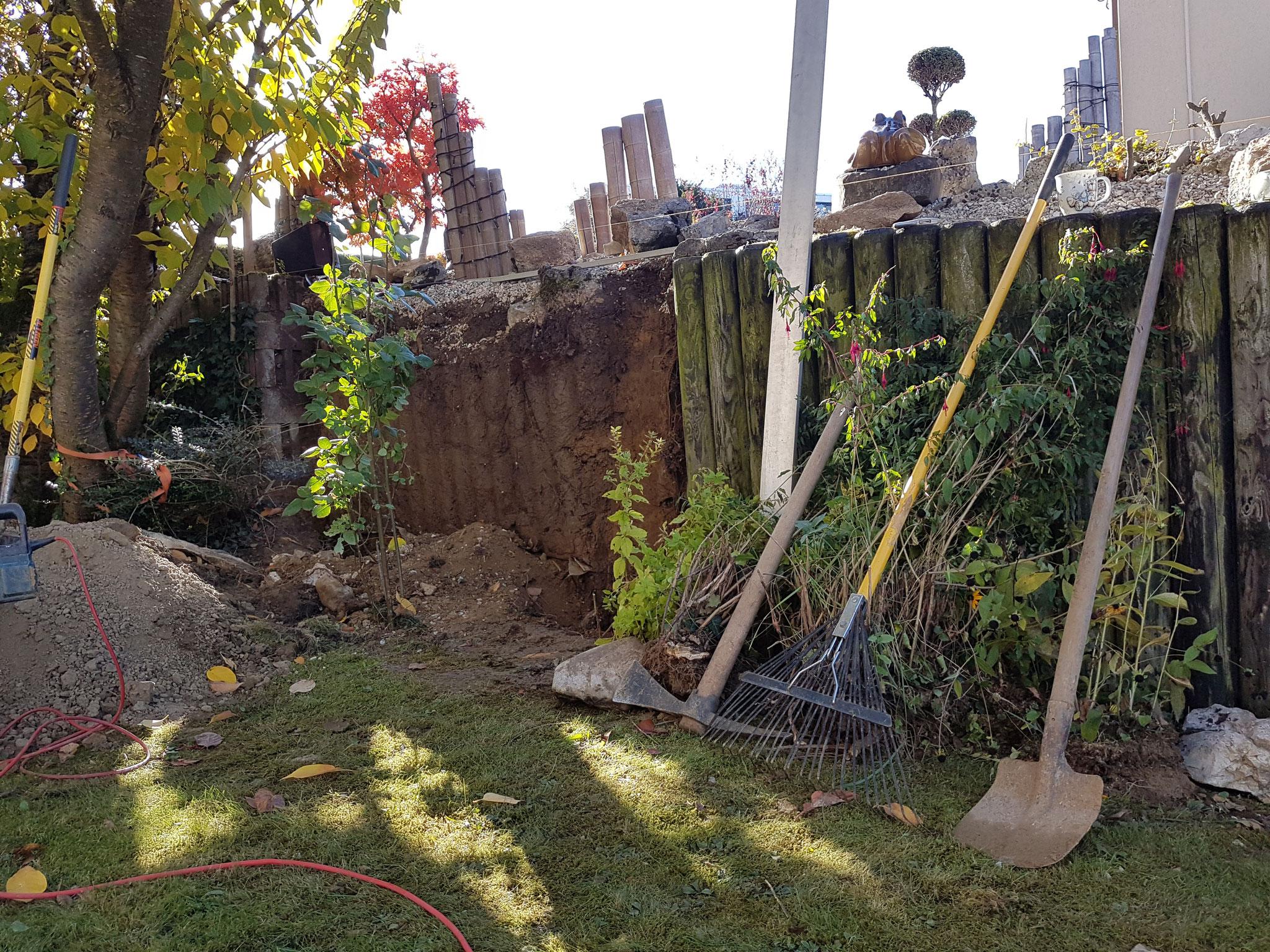 Projekt Stützmauer während den Arbeiten
