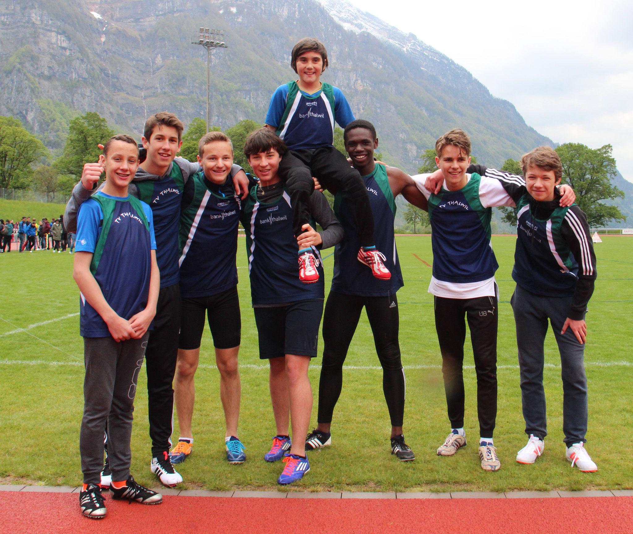 1. Rang in der Kategorie männliche Jugend ohne Stab (60 Meter)