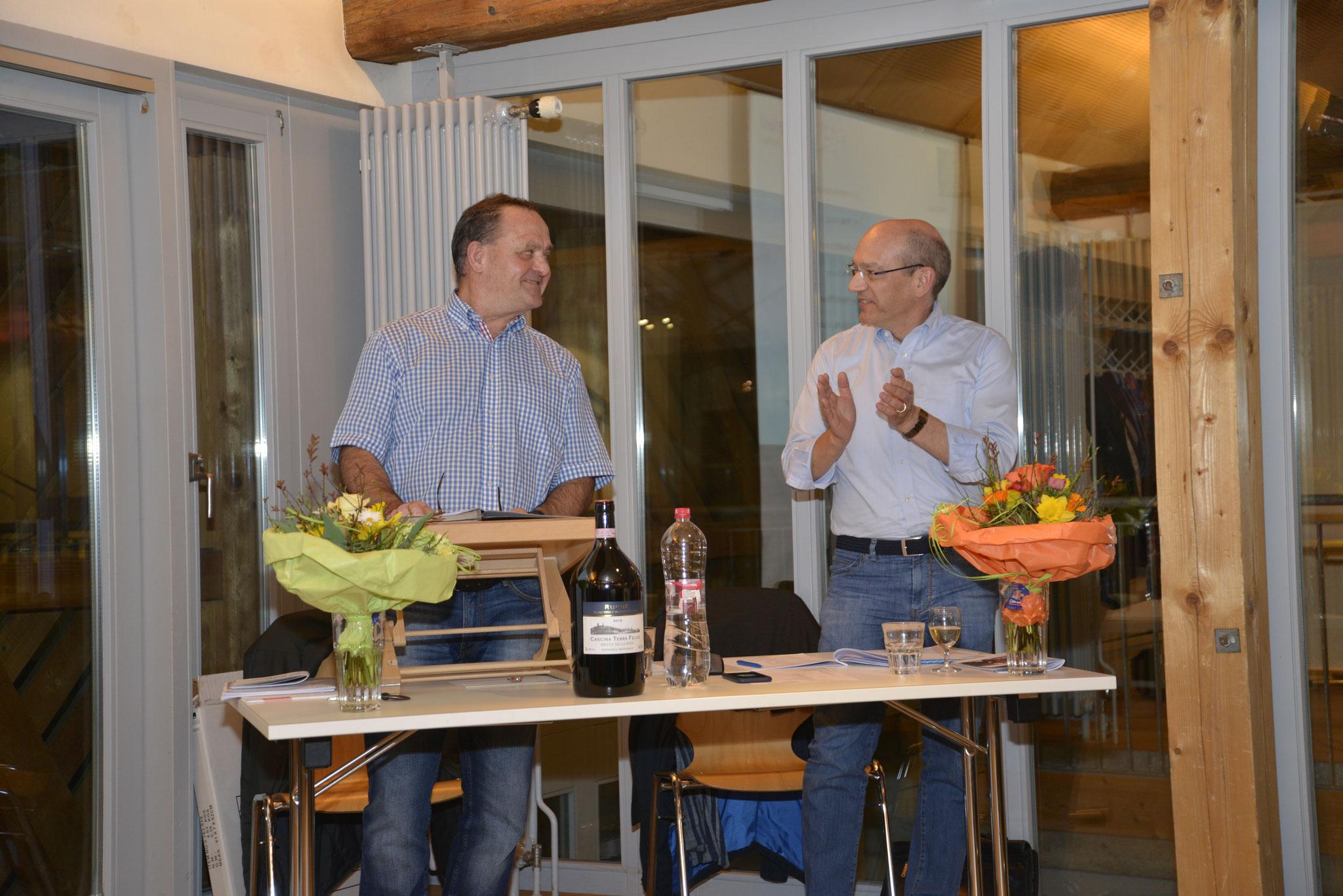 Geleitet wurde die Vereinsversammlung von Präsident Ueli Brandenberger (links) und Vizepräsident Fredi Haug.