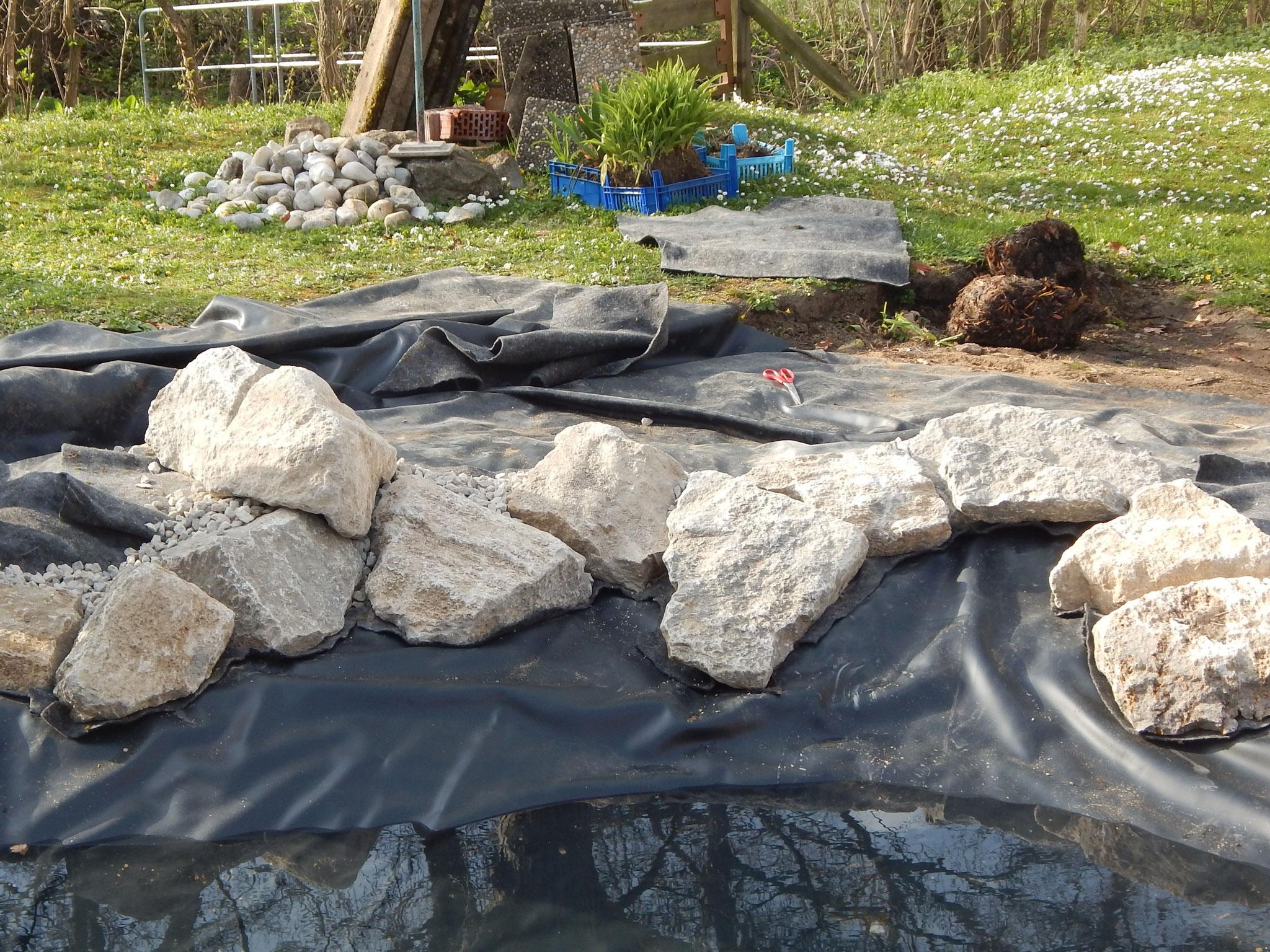 Teichrandgestaltung mit Wasserbausteinen Muschelkalk