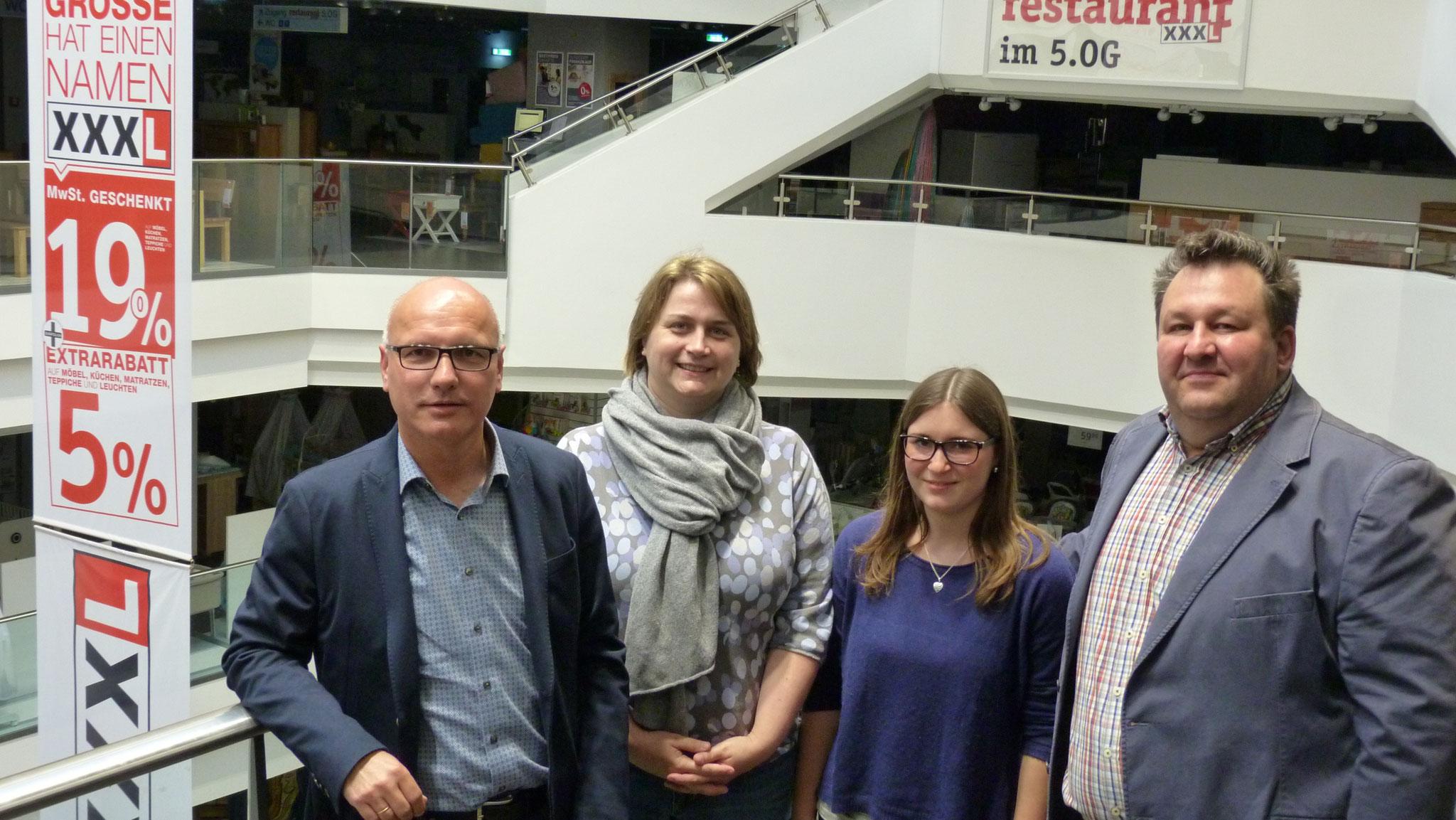 Das Zentralteam der PE: Joachim Lörzer, Johanna Knopp, Theresa Bieber und Johannes Scherm.