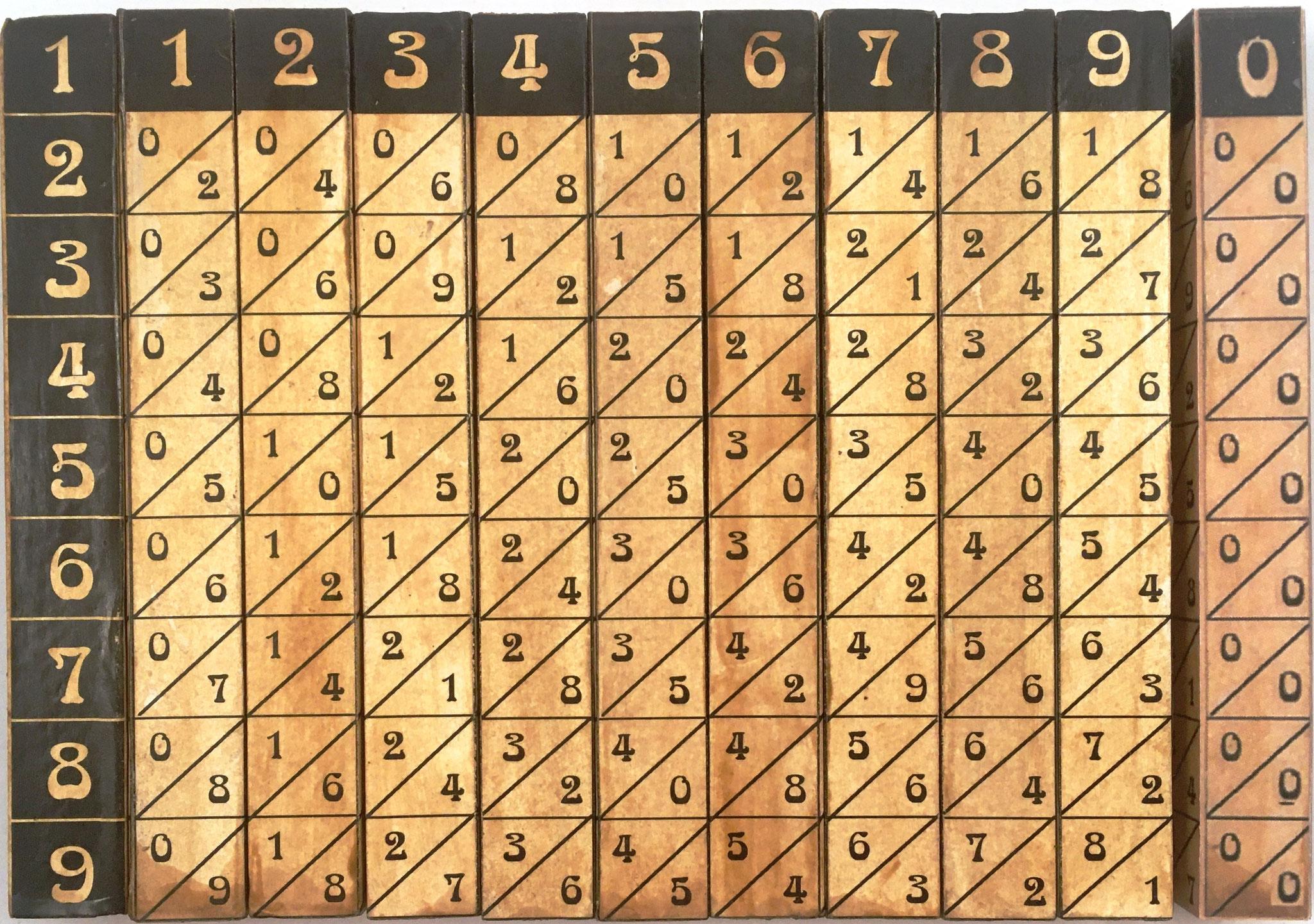 Ábaco multiplicativo de Napier, hecho en Francia, hacia 1940, 11 varillas cuadrangulares de 1.5x12.5 cm