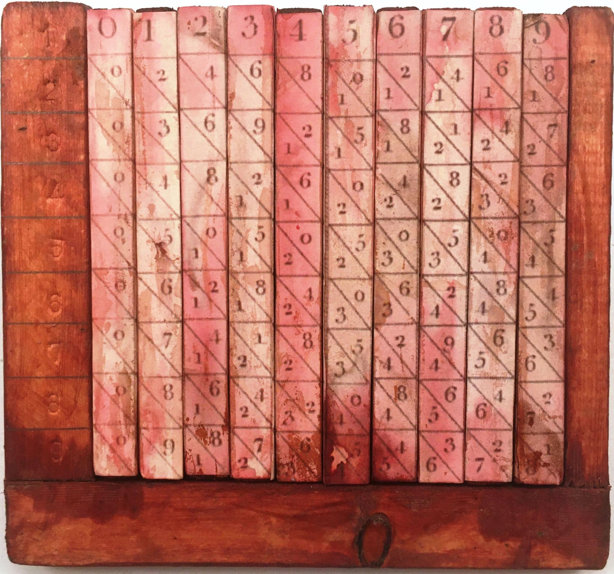 Ábaco multiplicativo de Napier, hecho en Italia, hacia 1900, 10 varillas cuadrangulares de 1x10 cm en su base