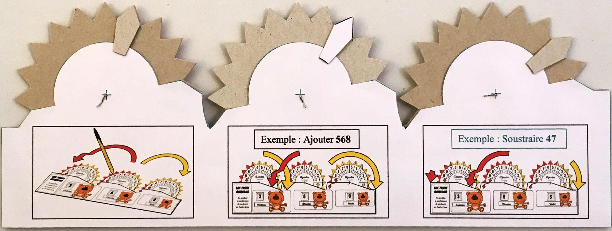 Reverso de LES TROIS OURSONS donde se aprecia el mecanismo de puesta a cero, fabricado por Trucs en Carton