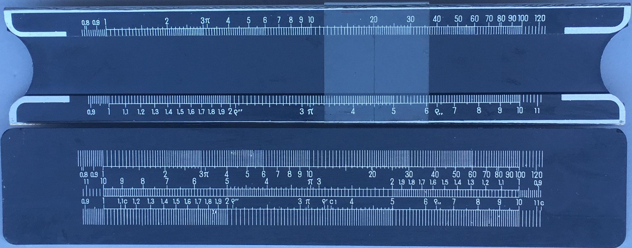 Regla de cálculo STILUS, obsequio publicitario de Zulaica y Cia S.R.C. (Fábrica de Estuches de Dibujo STILUS, Zarauz), aluminio, año 1950,15x3 cm
