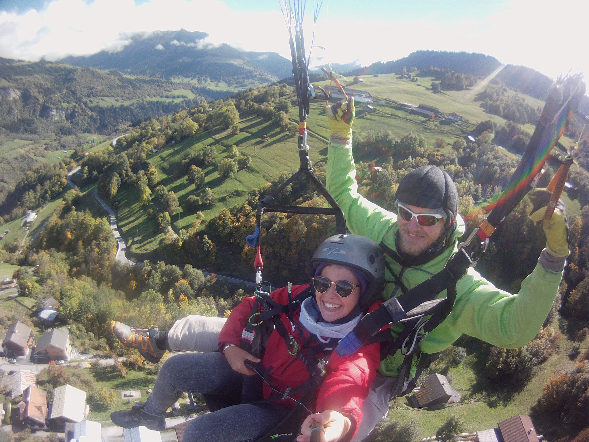 Flug mit Simona vom Bündnerrigi über Luven