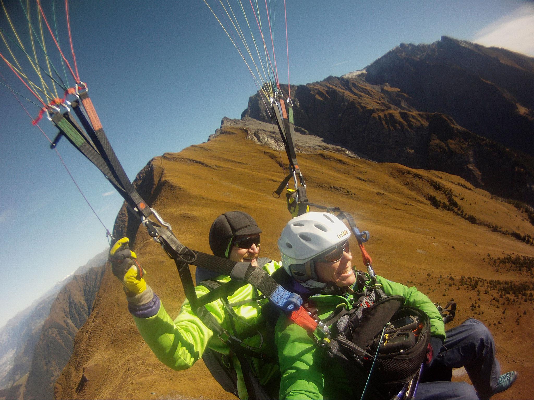 Flug von La Cauma, Alp Riein