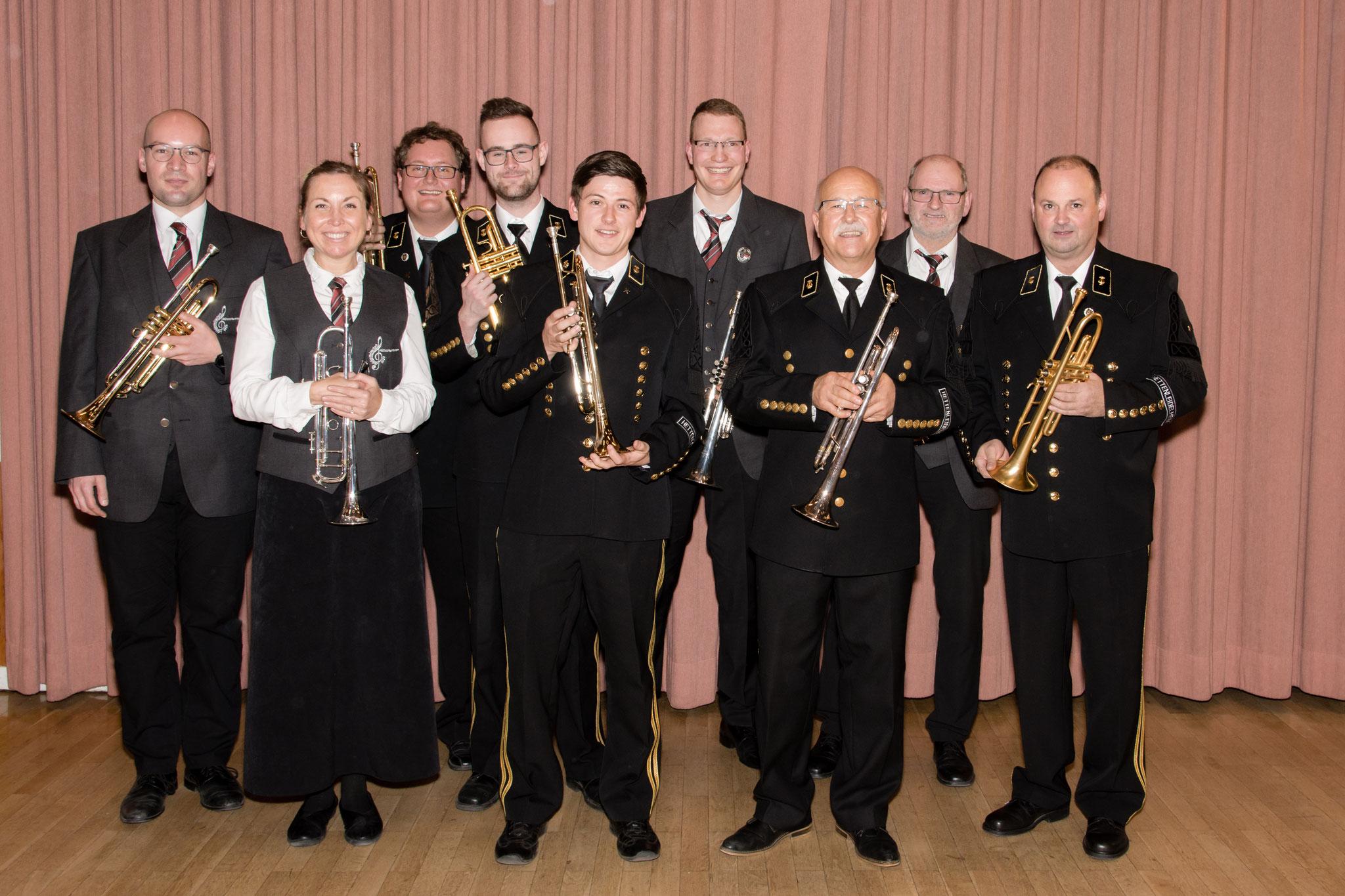 Beim Gemeinschaftskonzert spielten insgesamt 9 Musikerinnen und Musiker an der Trompete.