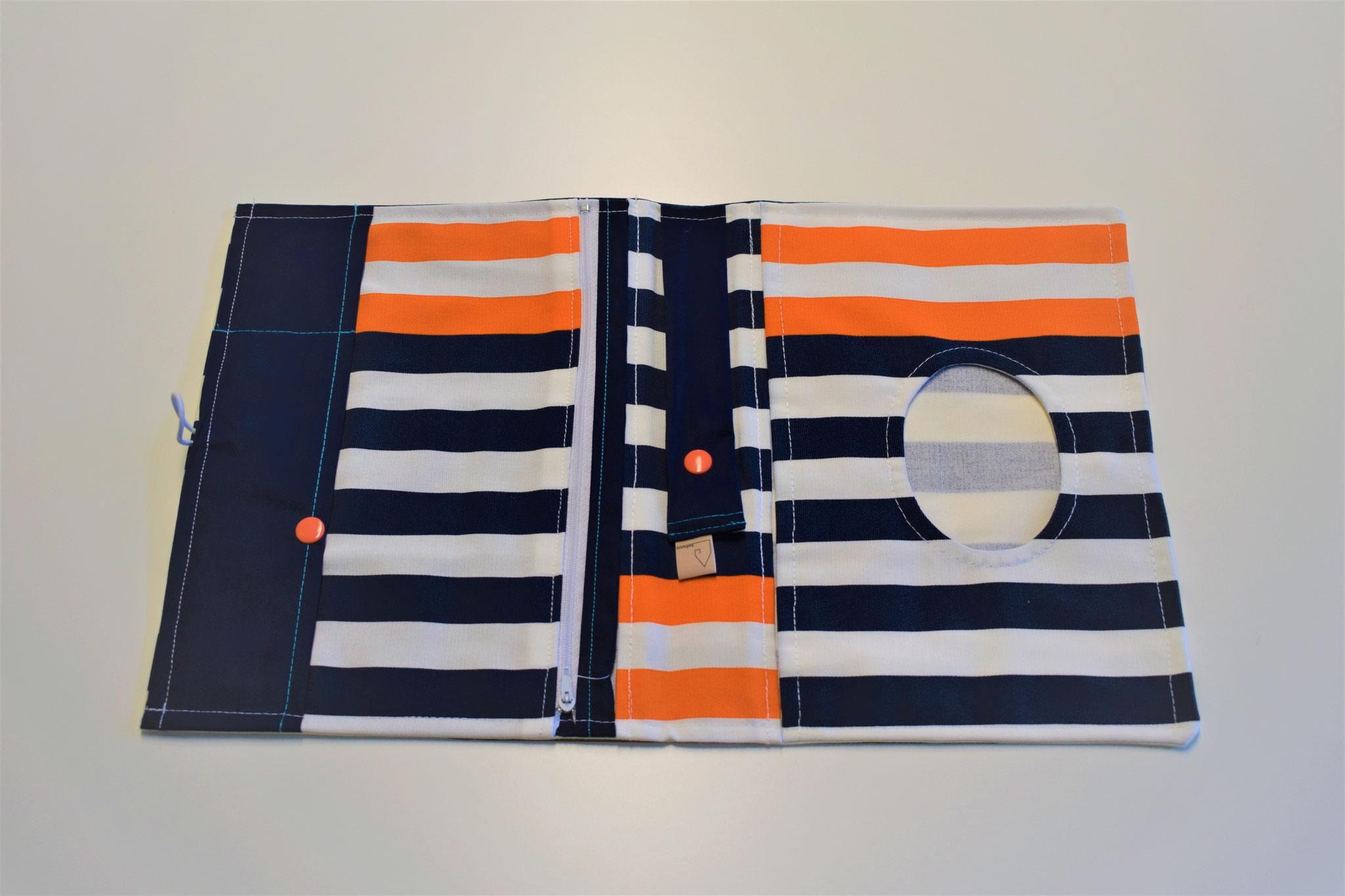 blau, weiss, orange gestreift, 29,90€