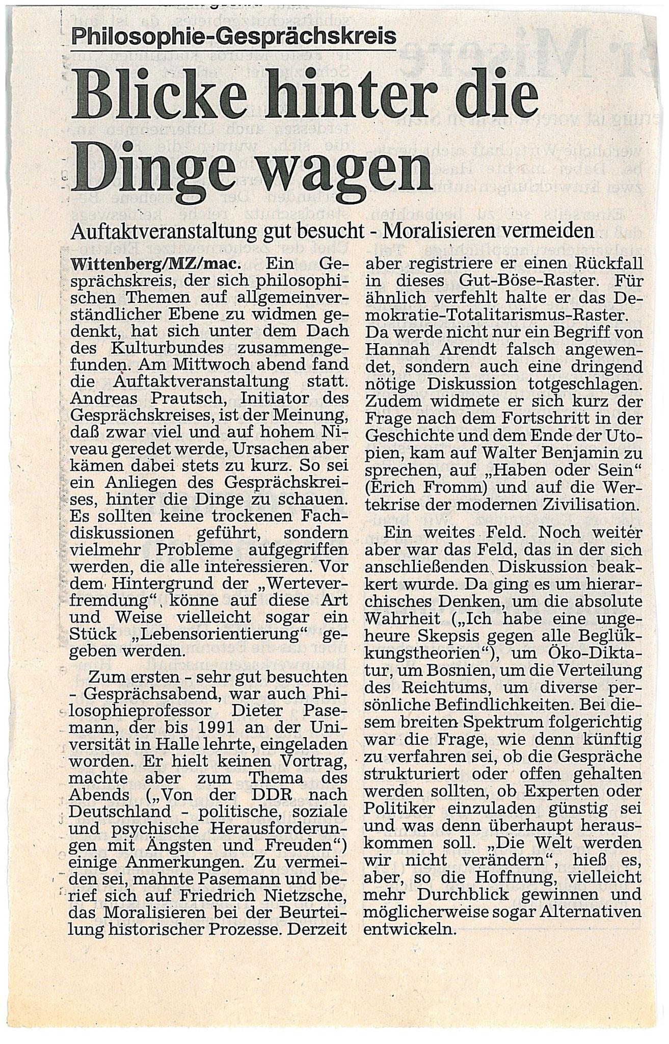 Ankündigung der Gründung des philosophischen Gesprächskreises in Wittenberg - Oktober 1995