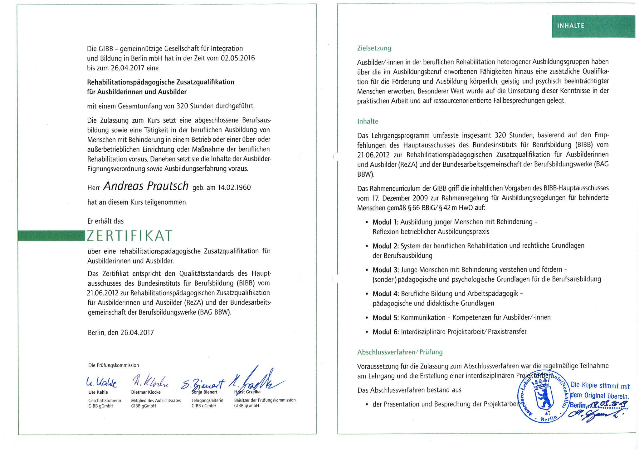 Rehabilitationspädagogische Zusatzausbildung - 2017