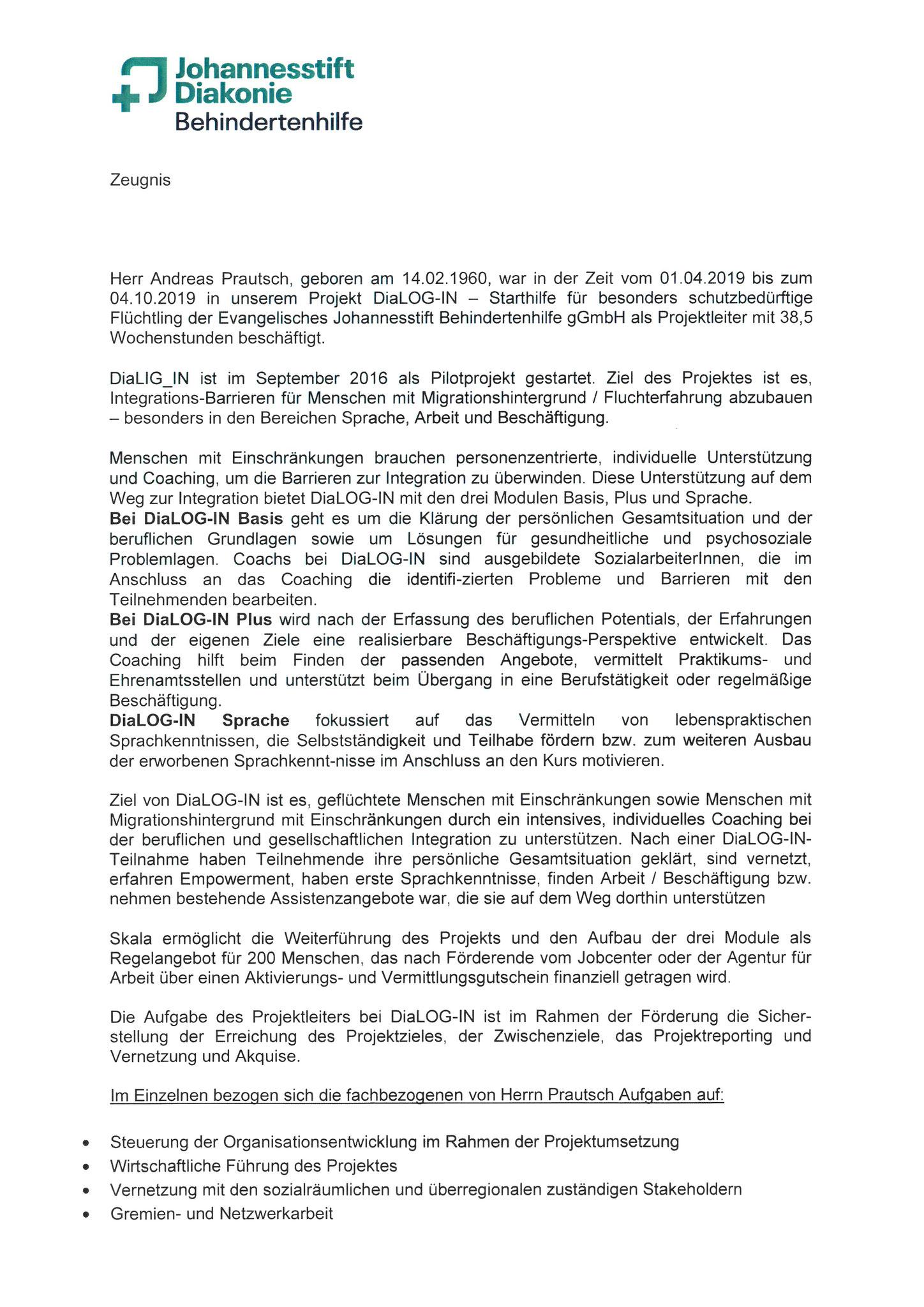 Zeugnis Evangelisches Johannesstift Diakonie_Seite 1 - 2019