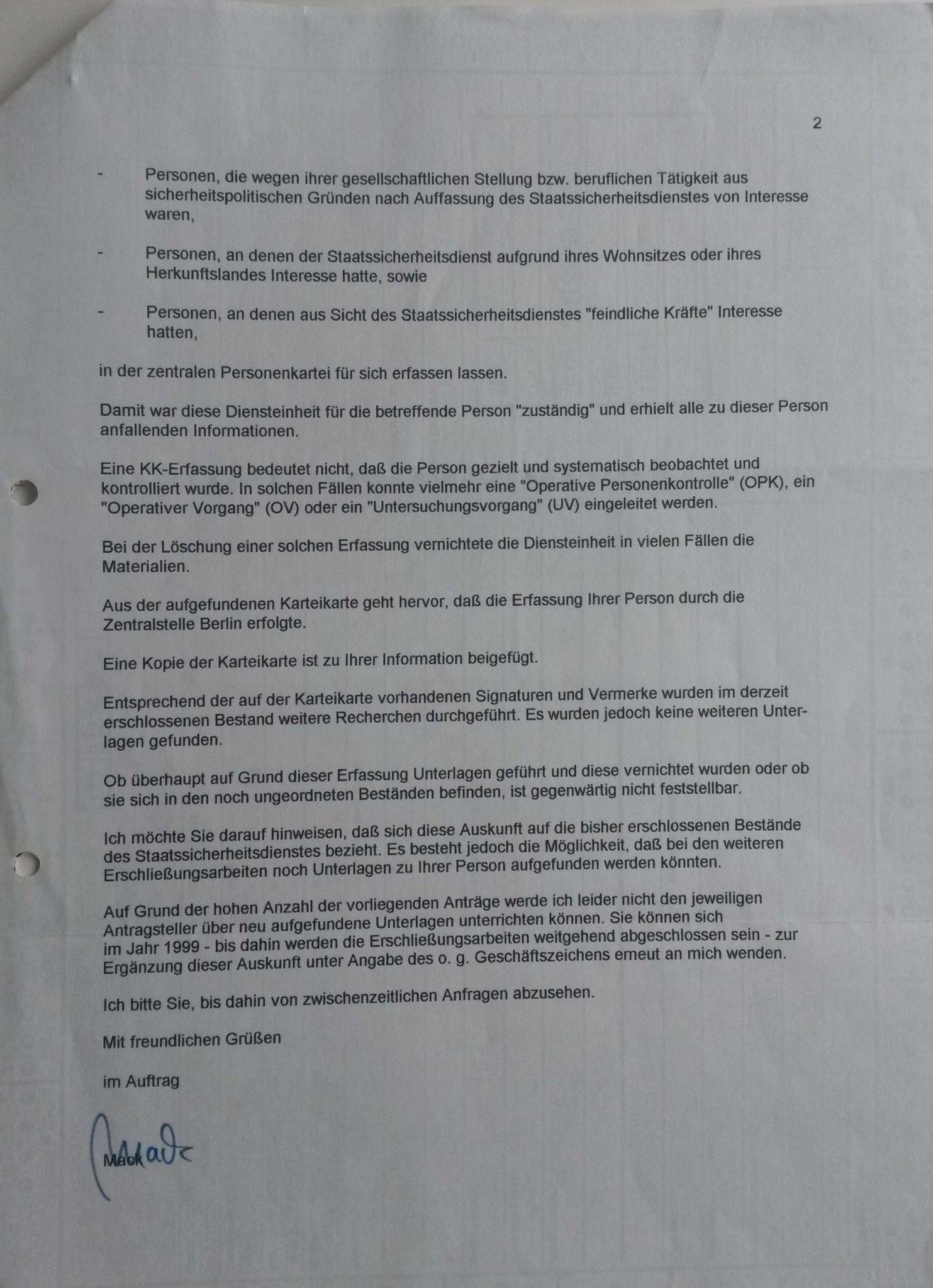 BStU - Bestätigungsschreiben Seite 2