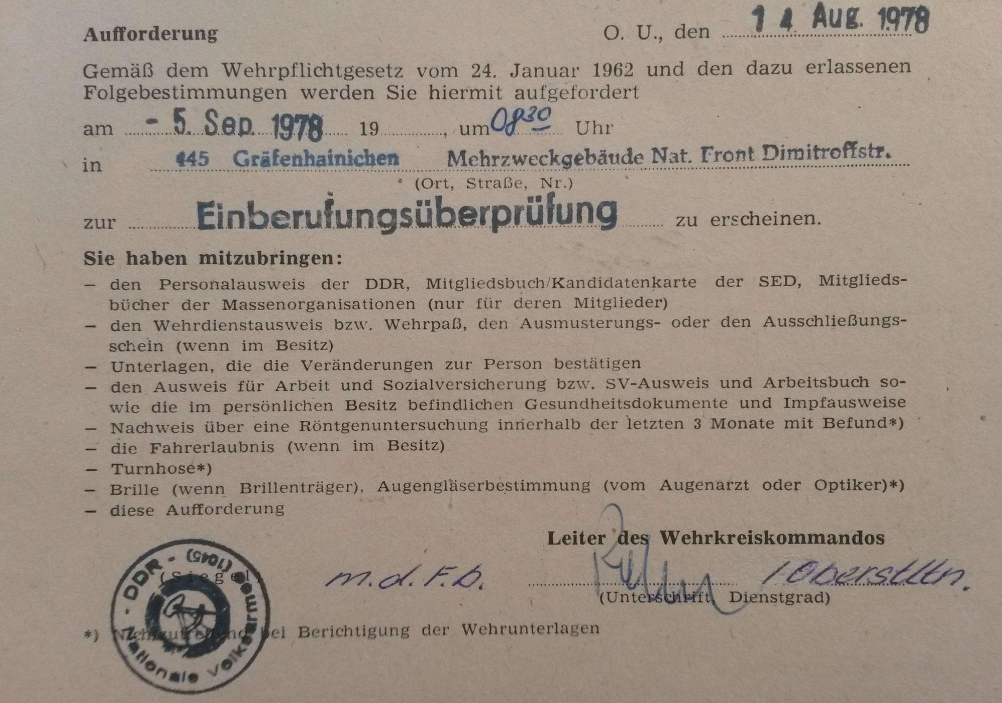 Einberufungs-Überprüfung zur Nationalen Volksarmee für den Zeitraum vom  01.11.1978 - 30.04.1980