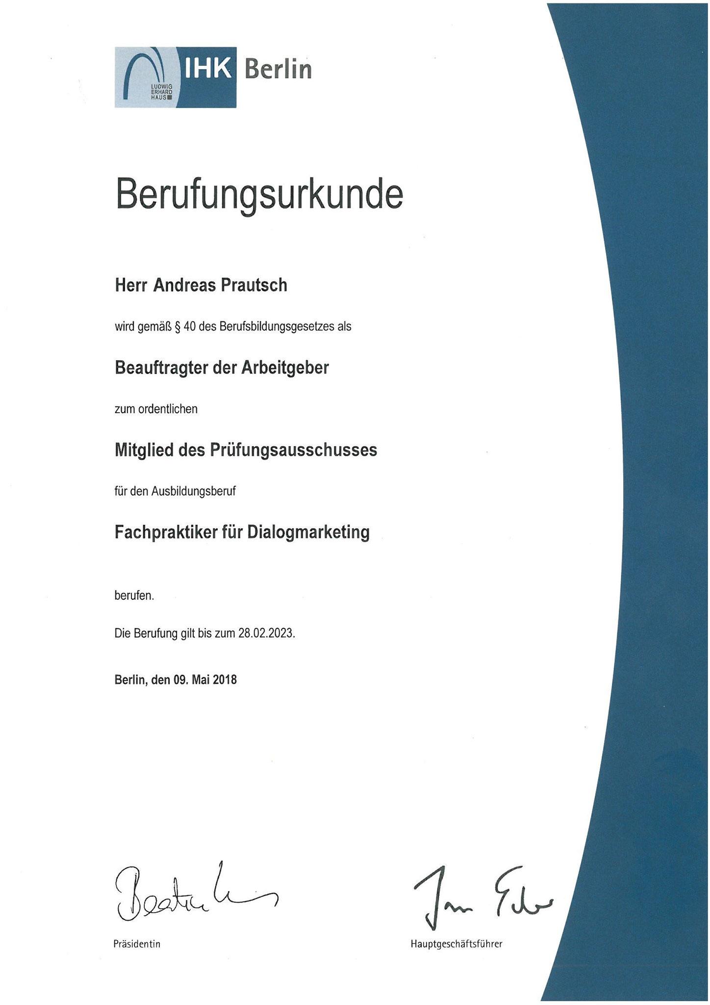Prüfer im Prüfungsausschuss Dialogmarketing (Fachpraktiker) - 2018