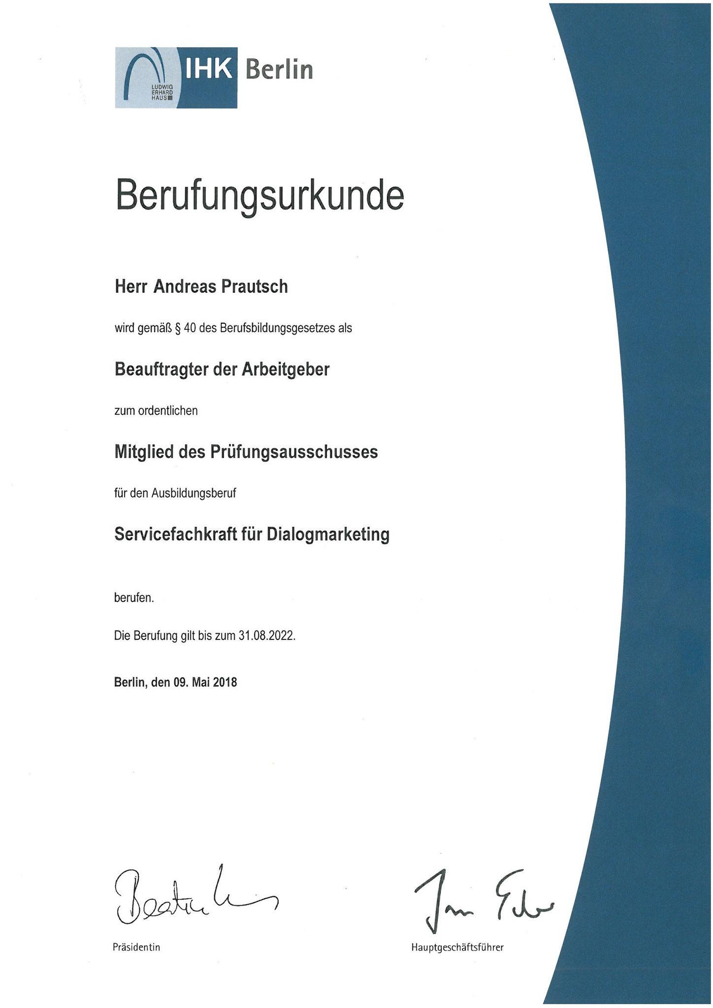 Prüfer im Prüfungsausschuss Dialogmarketing (Servicefachkräfte) - 2018