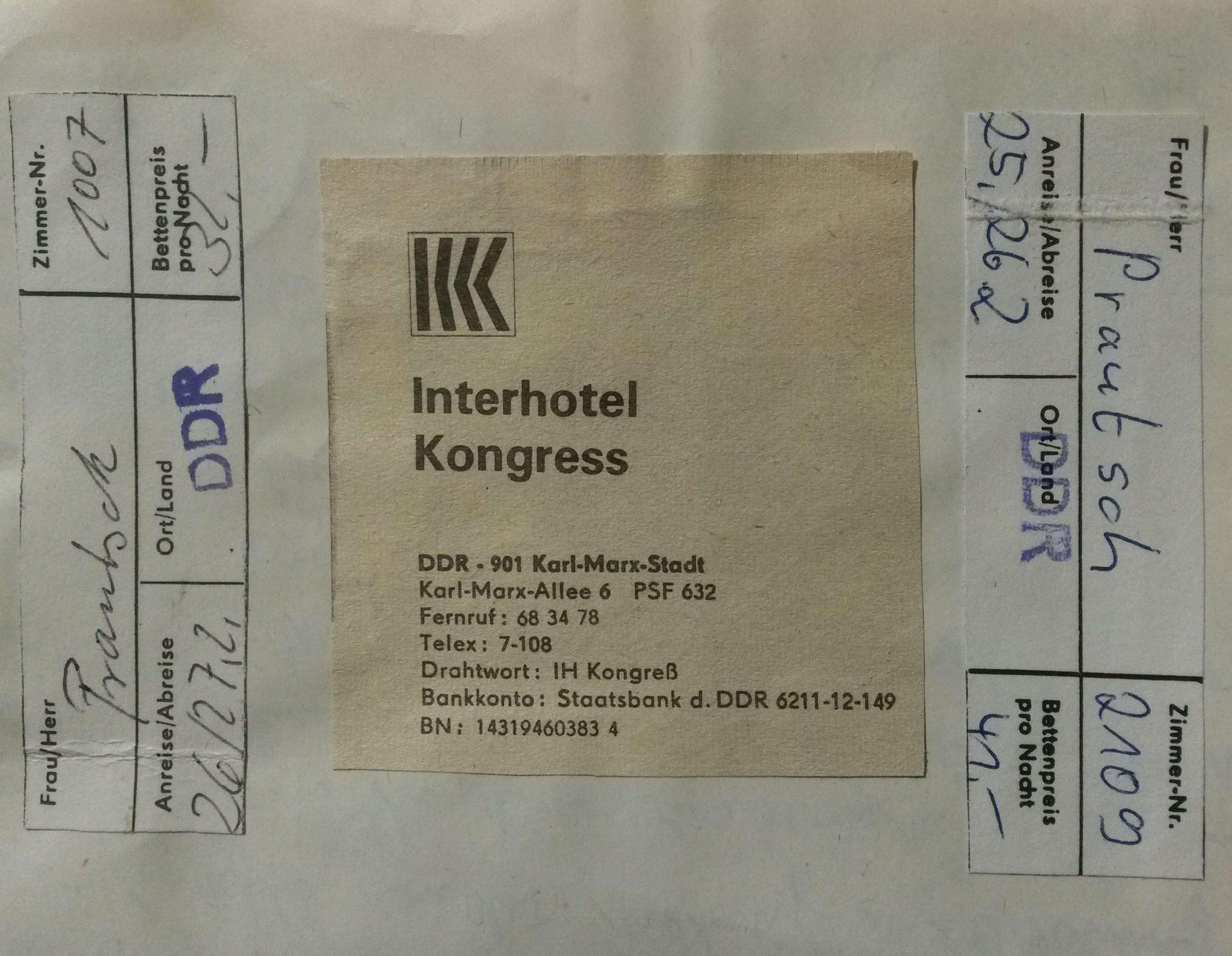 Interhotel Kongress Karl-Marx-Stadt (Chemnitz) - 1982