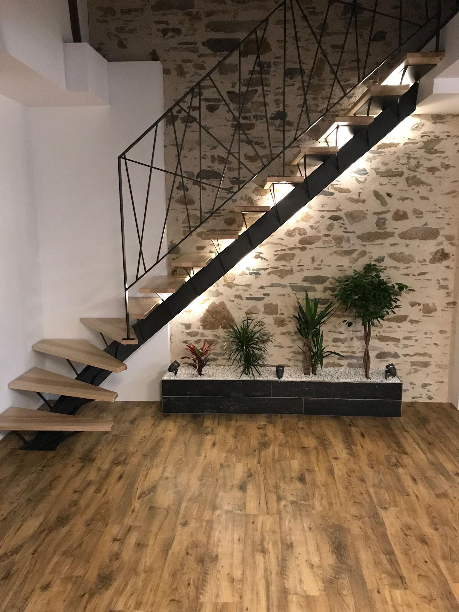 Escalier Bois Metal Noir les escaliers - esprit de steel - métallier d'art