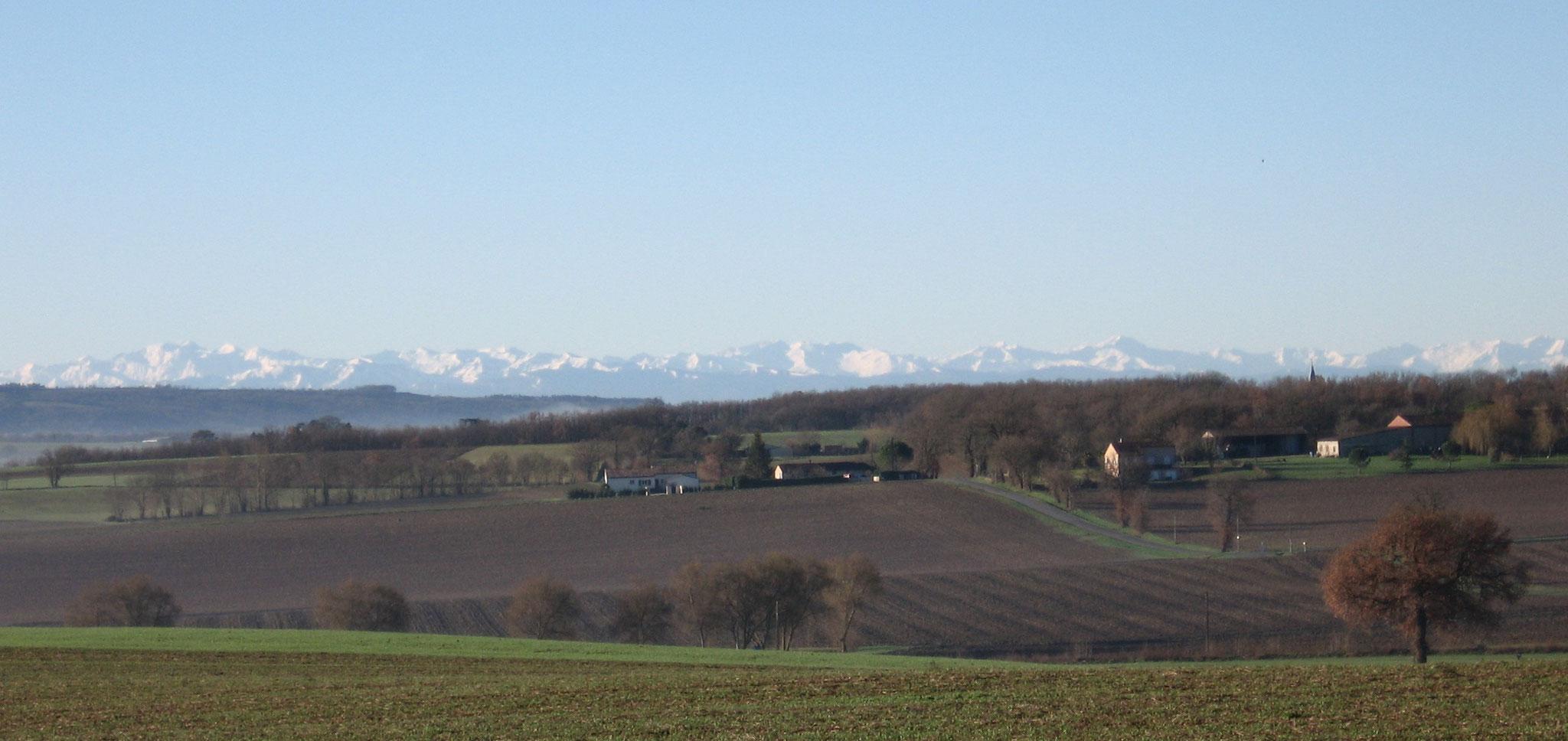 Vue sur les Pyrénées du Gite En Izarn