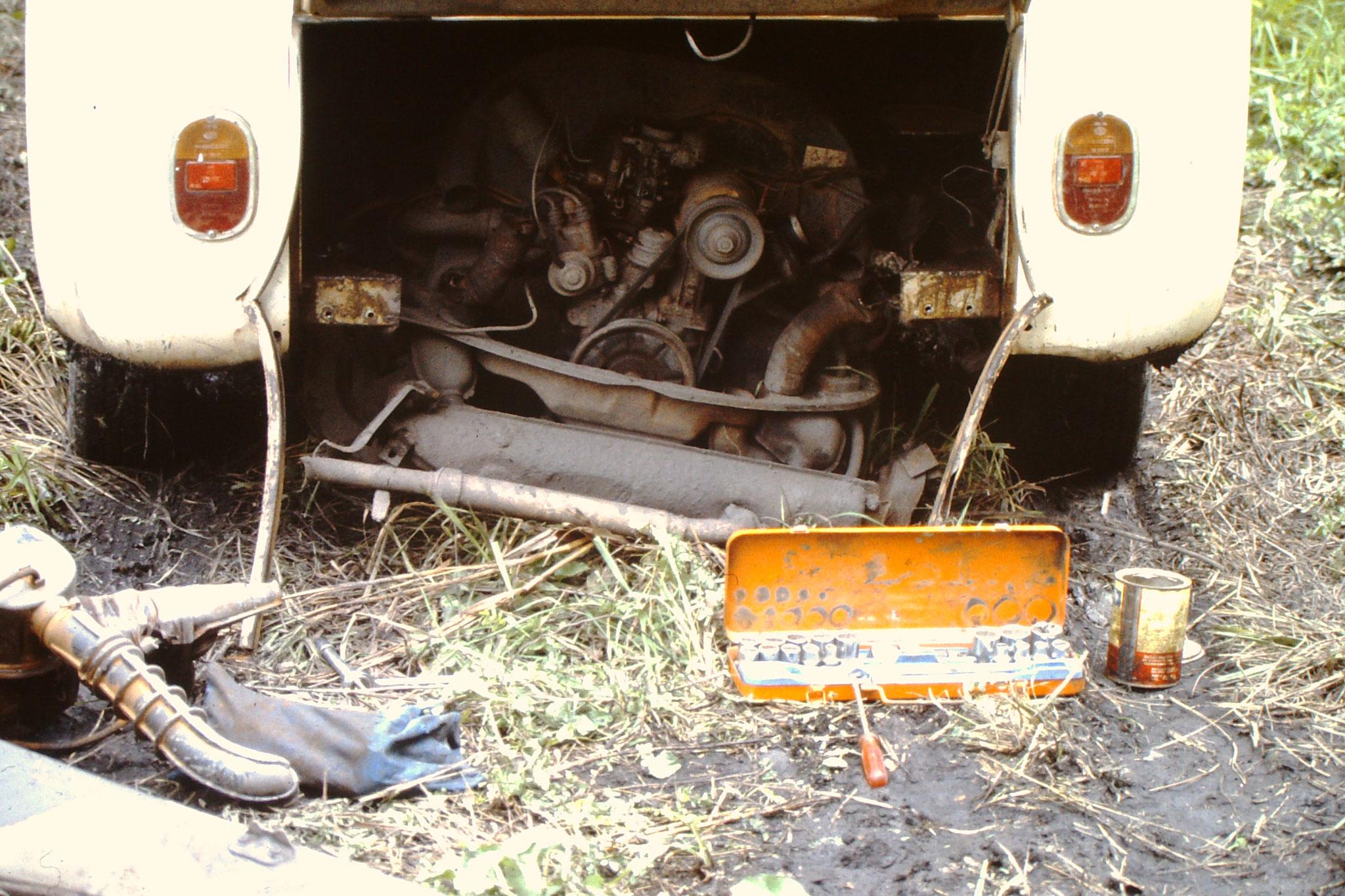 Während der Fahrt ist der Motor im Nationalpark runtergefallen. Die drei Schrauben an denen der Motor befesigt war sind abgebrochen. Weil ich aber im Nationalpark war und weit und breit kein anderes Fahrzeug in Sicht war, versuchte ich mit wenig Erfol