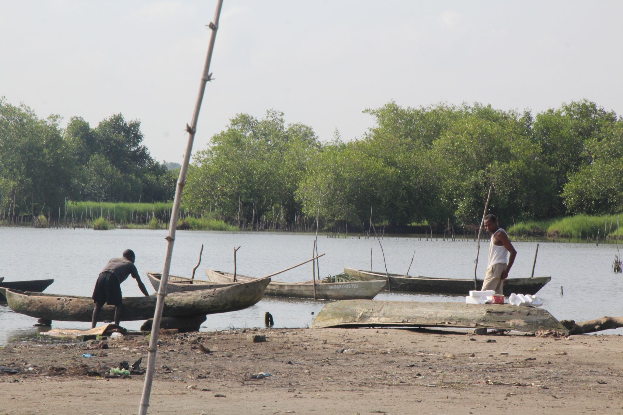 15. Pirogen am Lac Ahéme in Benin.