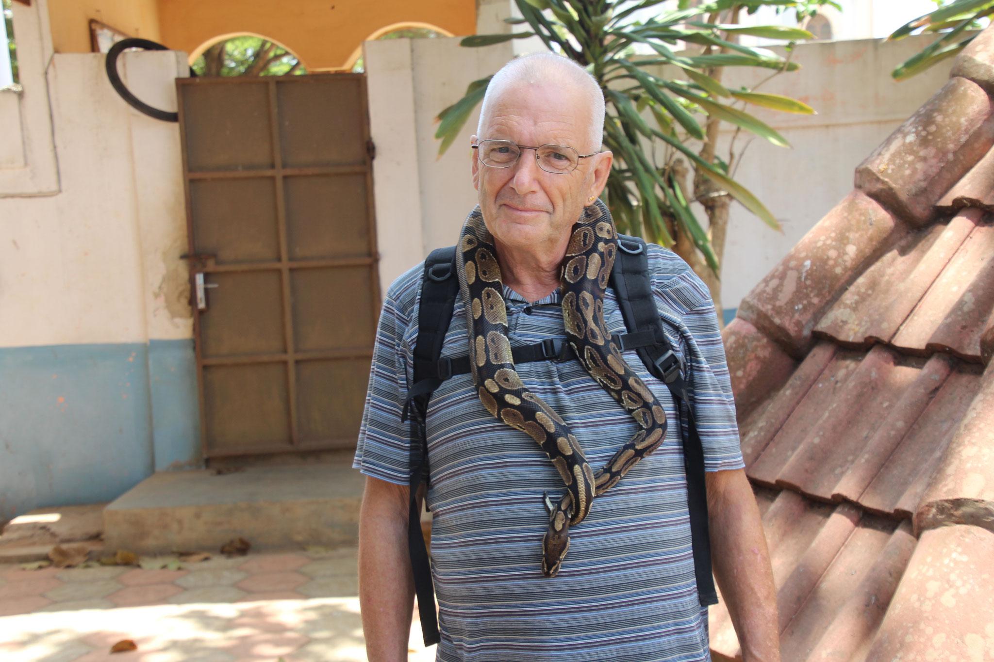 Ich mit einer Pythonschlange.