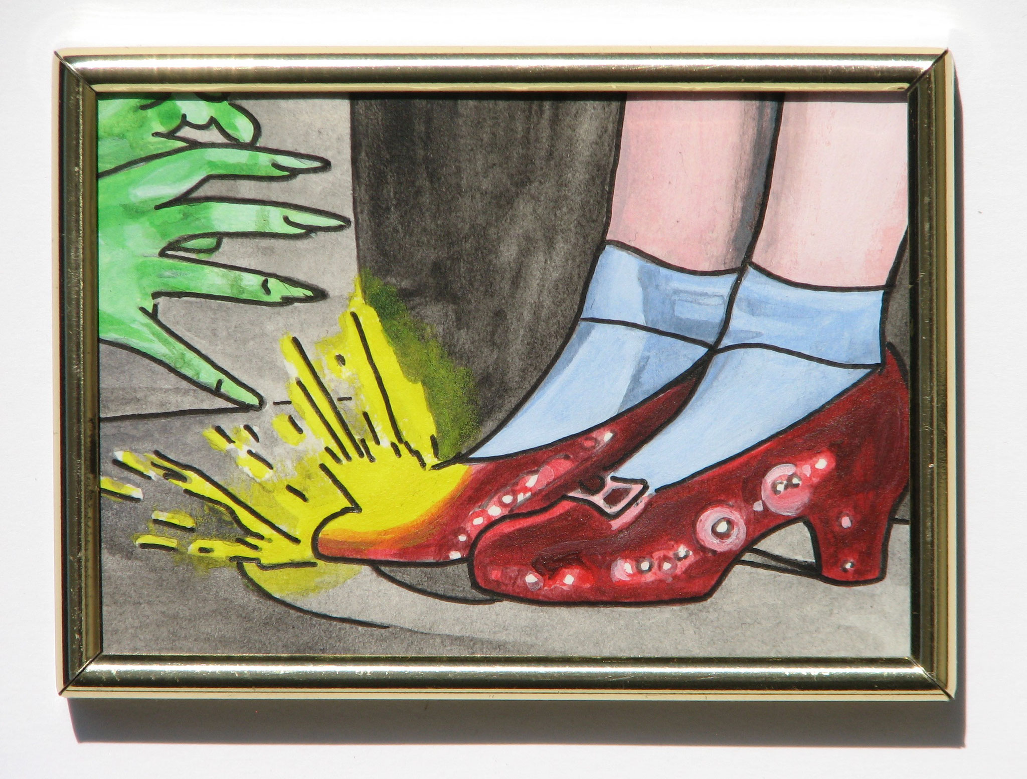 Ruby Slippers  2014  Acrylic and Pen on Paper 6,5 x 9,2 cm