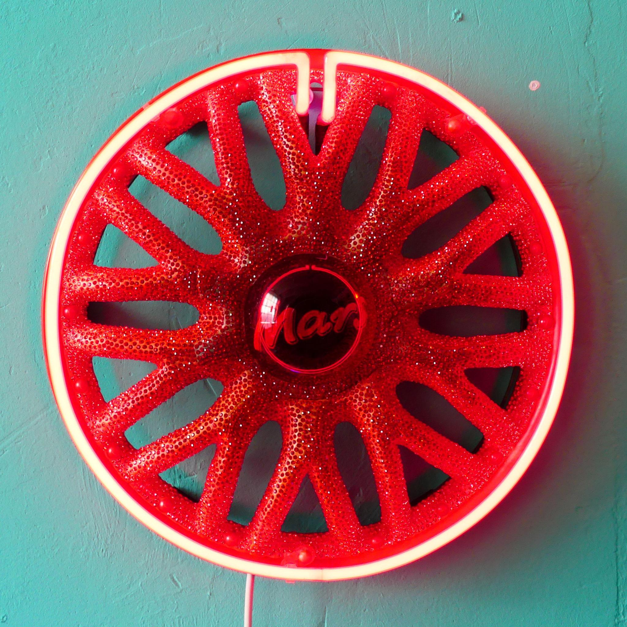 MARS Wheel Cover, Modelling Compount,  Rhinestones, Acrylic Pigment, Neon Light