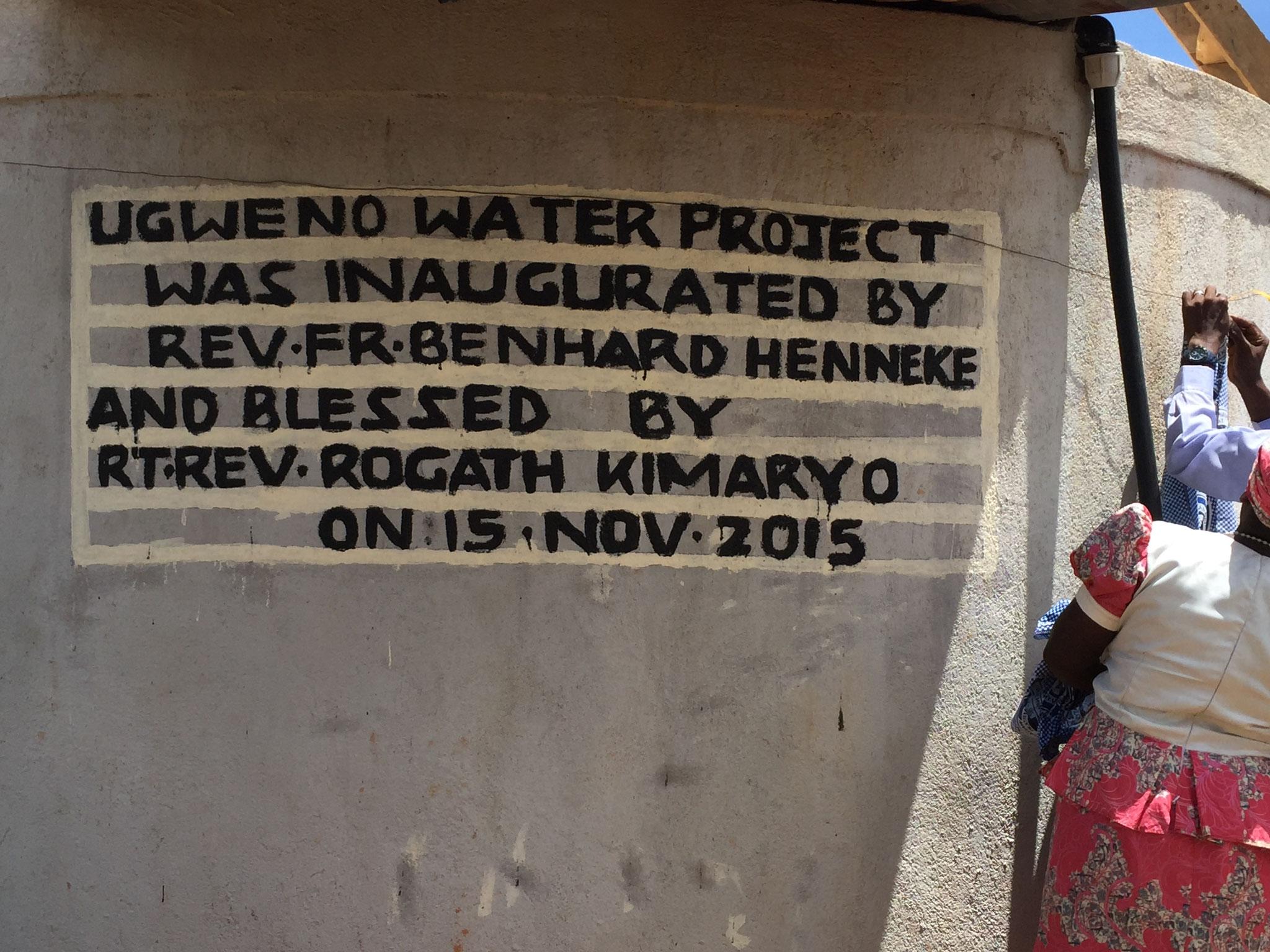 Text am Wassertank