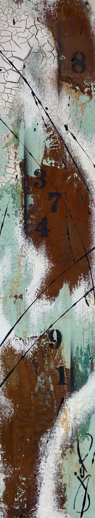 100 x 20 cm / fading numbers / Canvas and Mixmedia / 2017