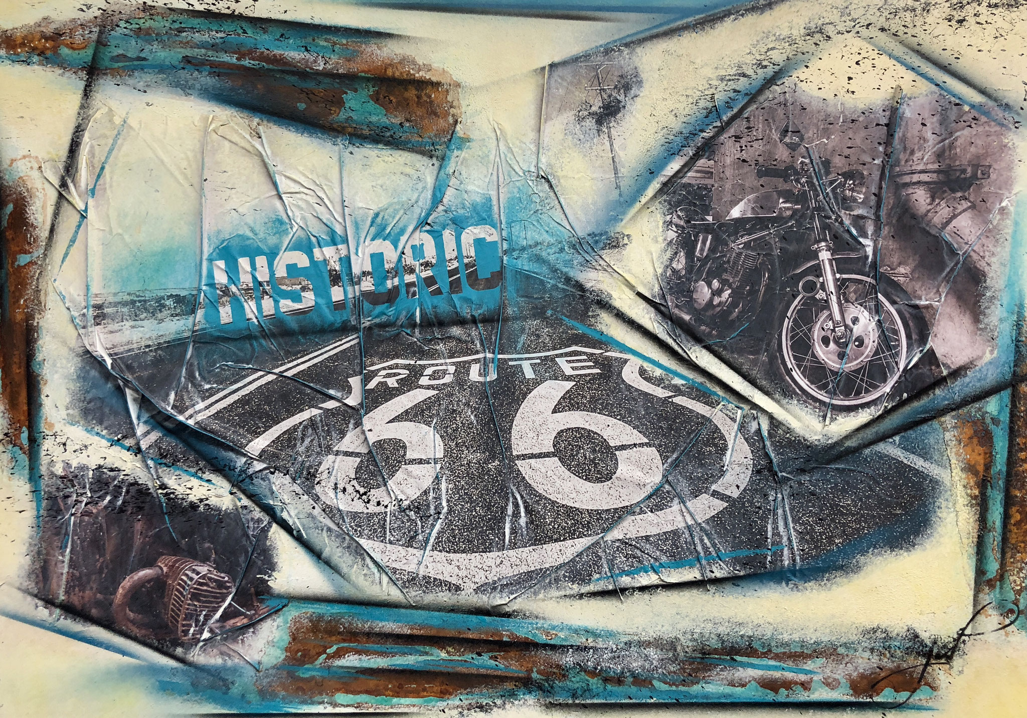 70 x 100 cm / Historic-Route66 / Canvas and Mixmedia / 2018