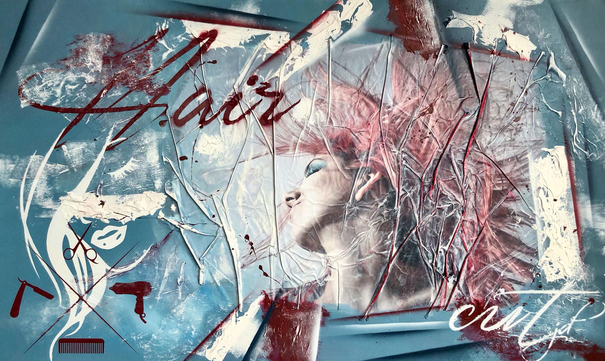 60 x 100 cm / hair cut / Canvas and Mixmedia / 2020